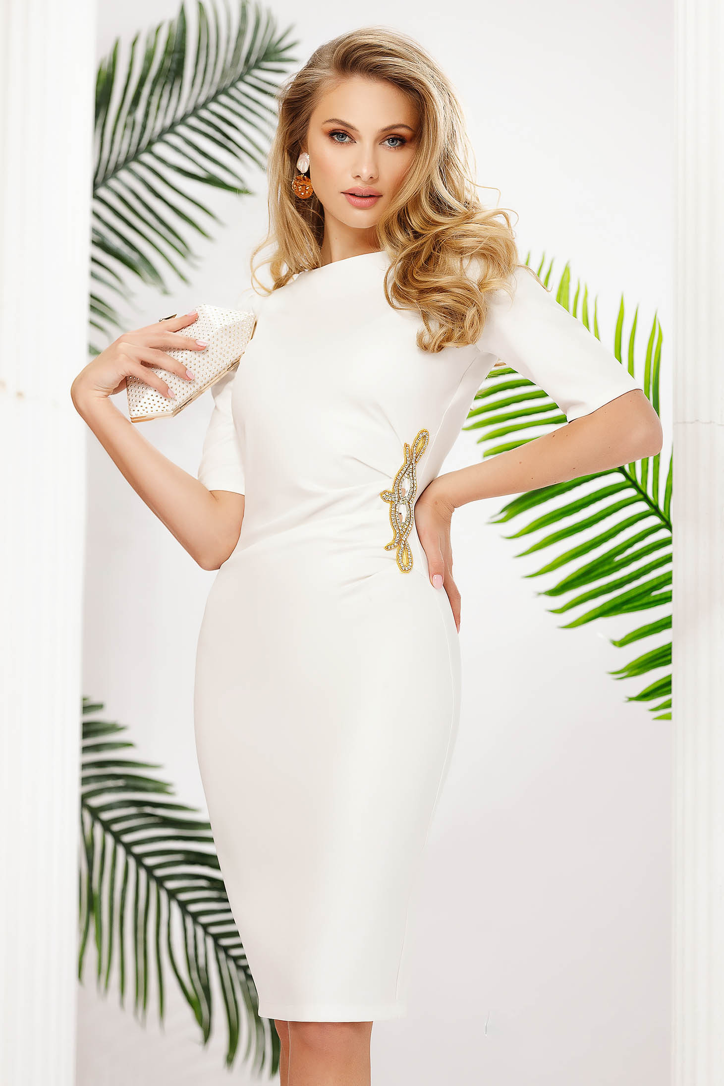 White dress short cut occasional pencil slightly elastic fabric with glitter details