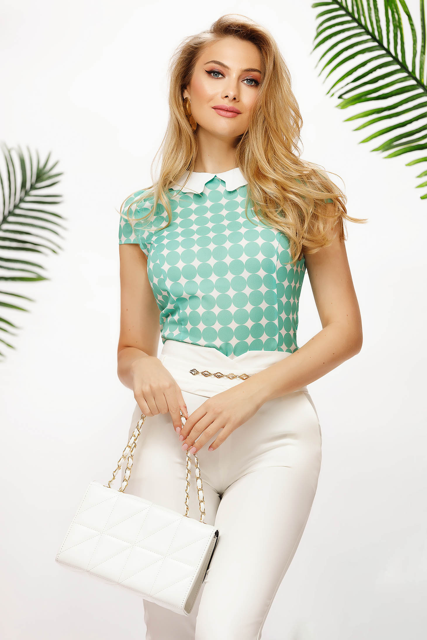 Women`s blouse office tented airy fabric dots print