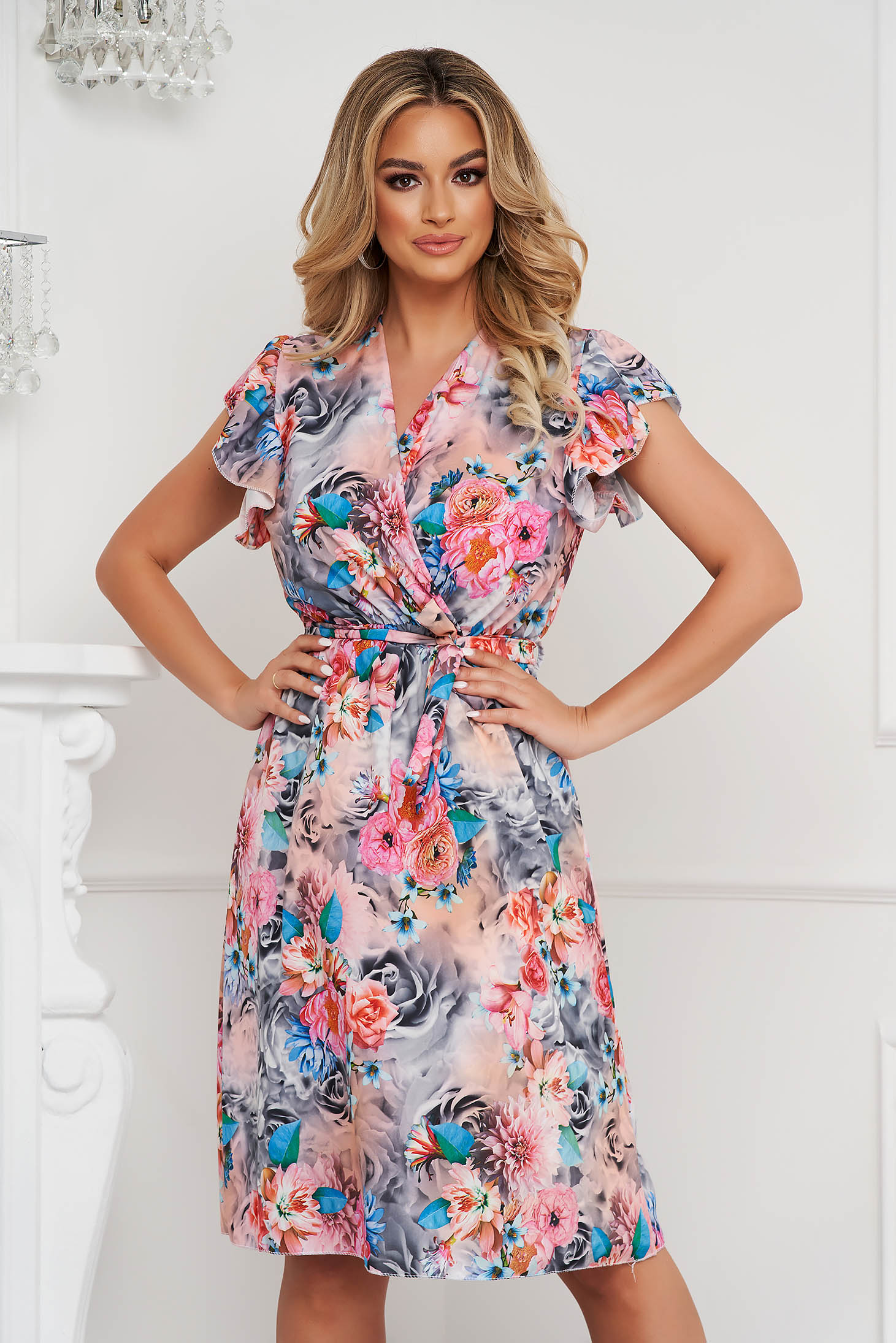 Dress short cut from veil fabric cloche with elastic waist with floral print