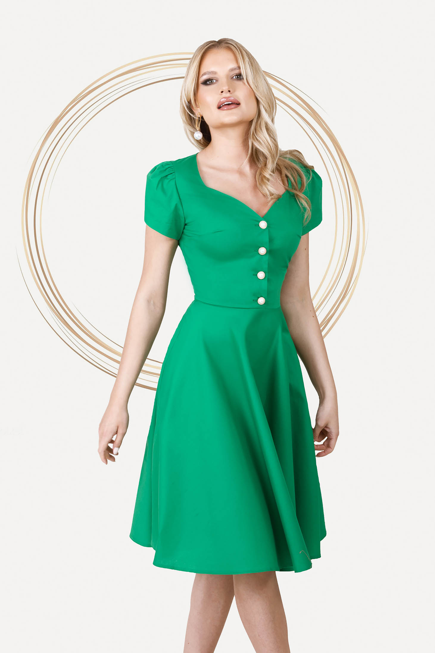 Midi office cloche poplin slightly elastic fabric green dress