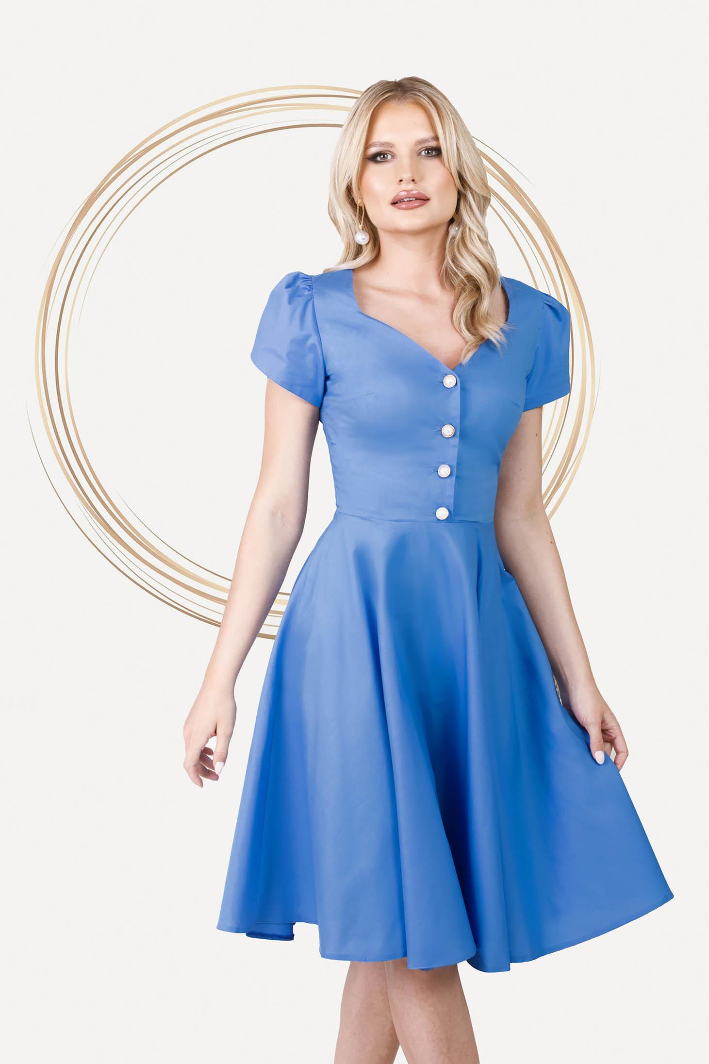 Midi office cloche poplin slightly elastic fabric blue dress