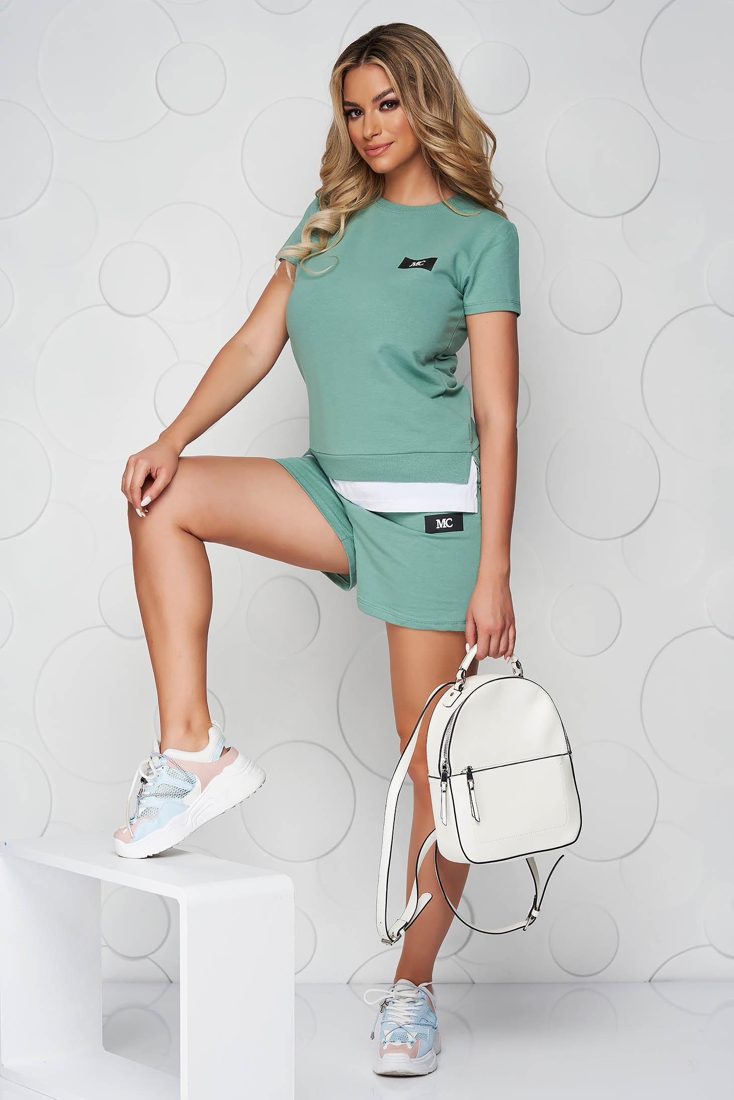 Green sport 2 pieces cotton women`s shorts women`s t-shirt
