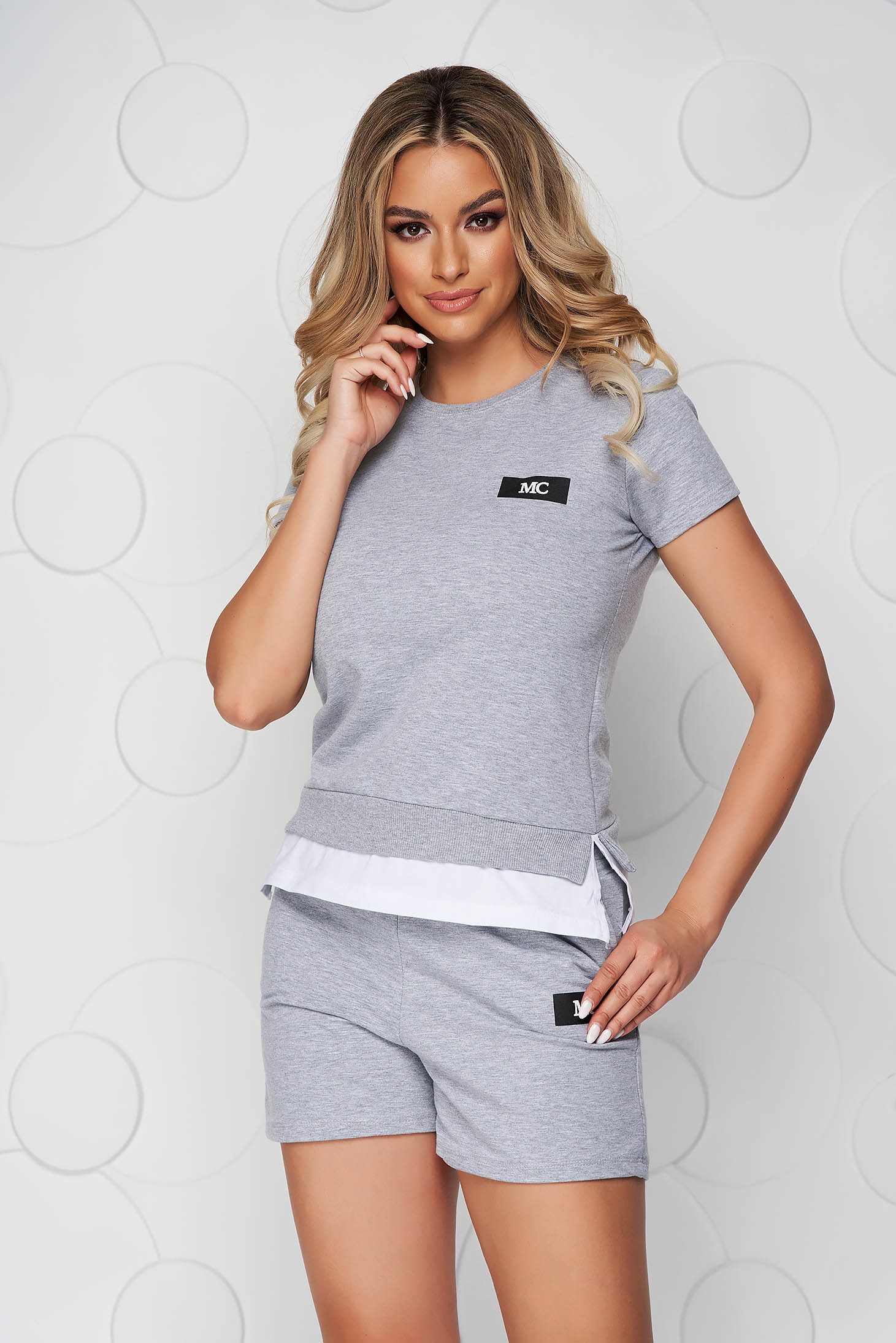 Grey sport 2 pieces cotton women`s shorts women`s t-shirt