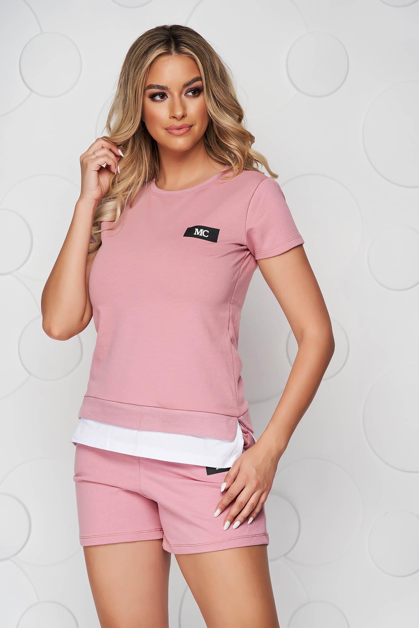 Lightpink sport 2 pieces cotton women`s shorts women`s t-shirt
