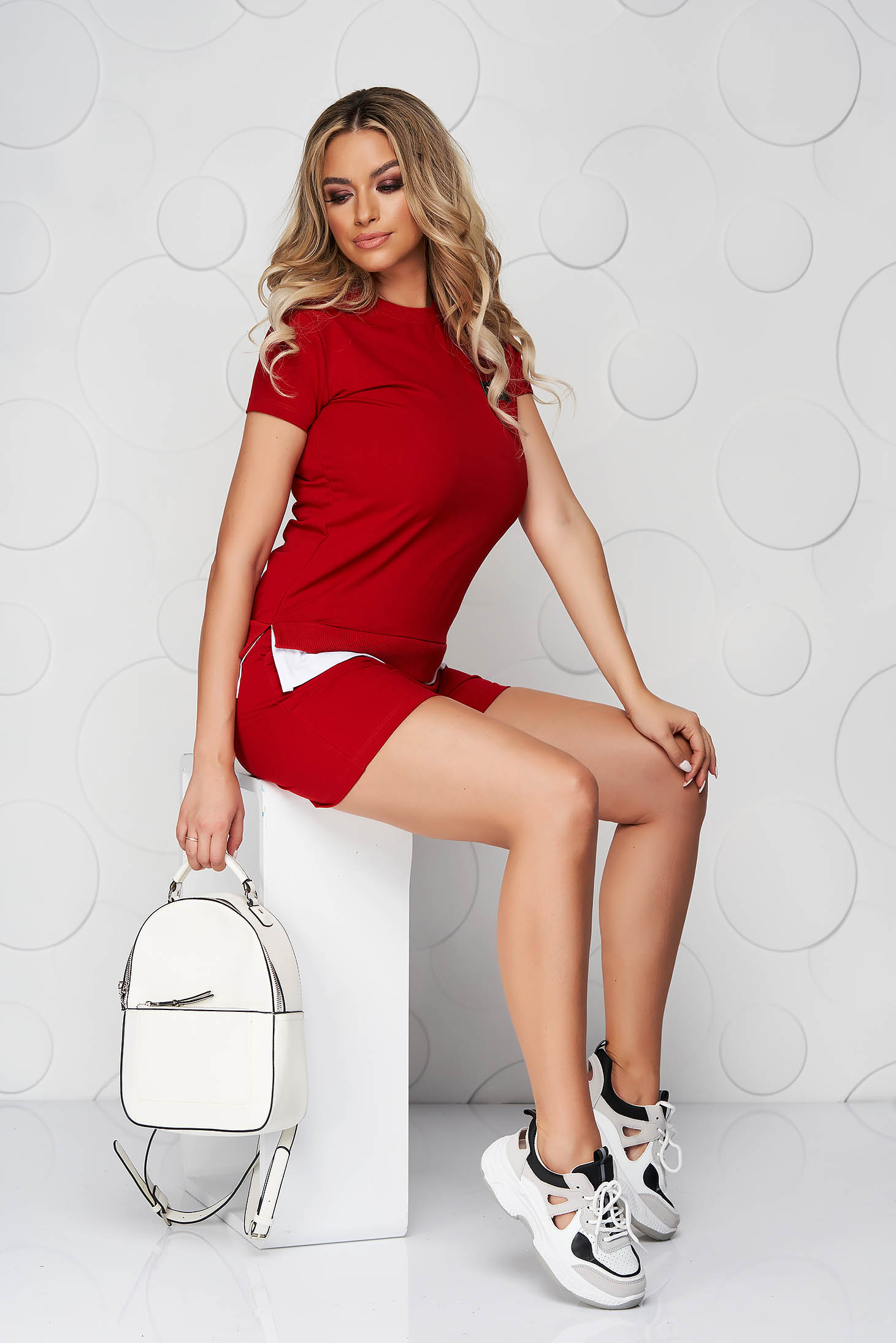 Piros sportos szettek pamutból készült női rövidnadrág női póló