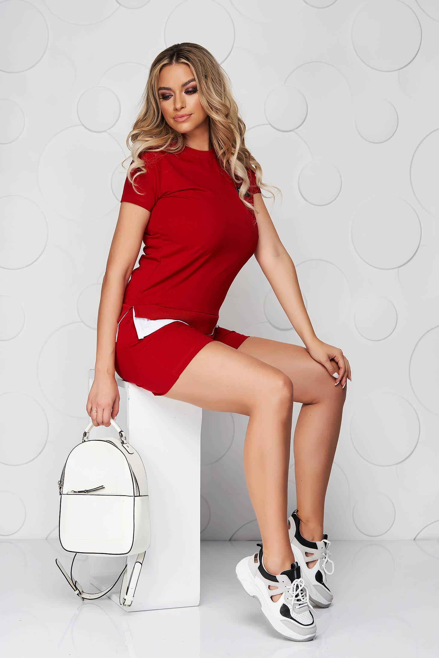 Red sport 2 pieces cotton women`s shorts women`s t-shirt