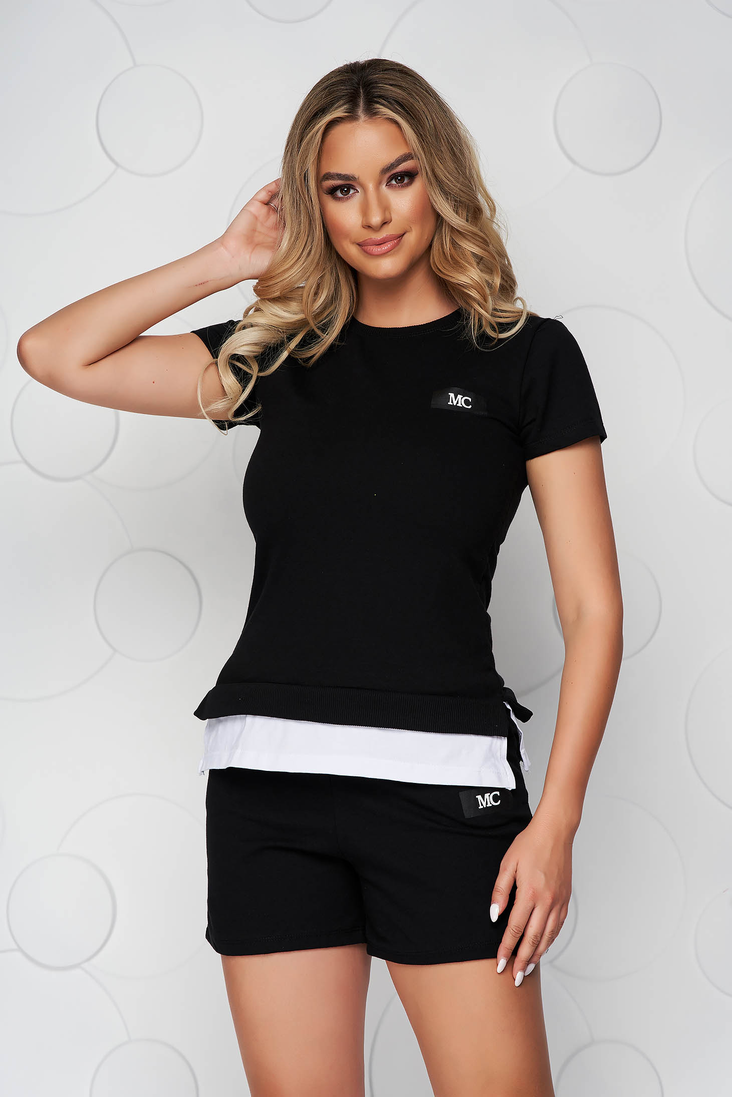 Trening SunShine negru din bumbac cu pantaloni scurti si tricou