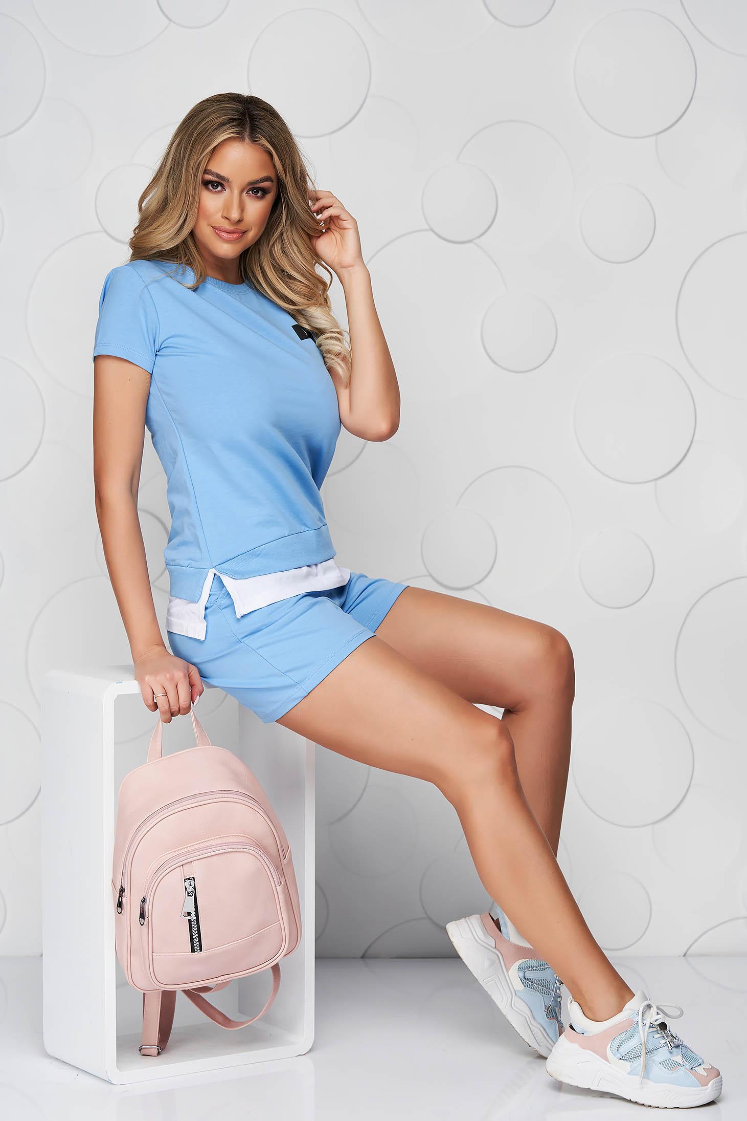 Lightblue sport 2 pieces cotton women`s shorts women`s t-shirt