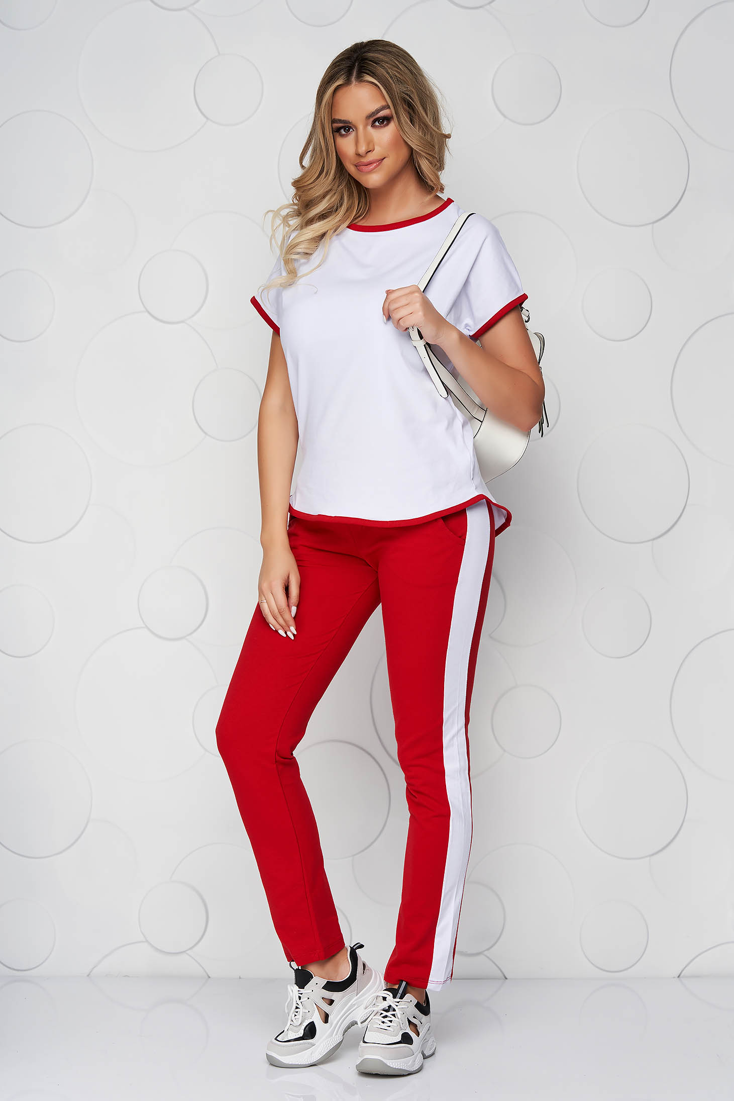 Red sport 2 pieces cotton loose fit from elastic fabric