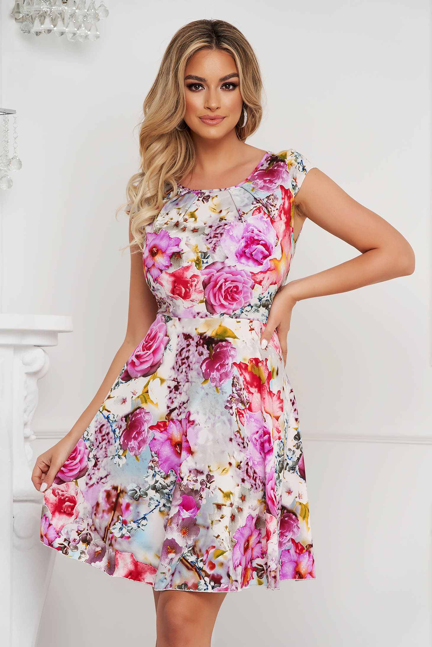 Dress elegant short cut cloche airy fabric short sleeves