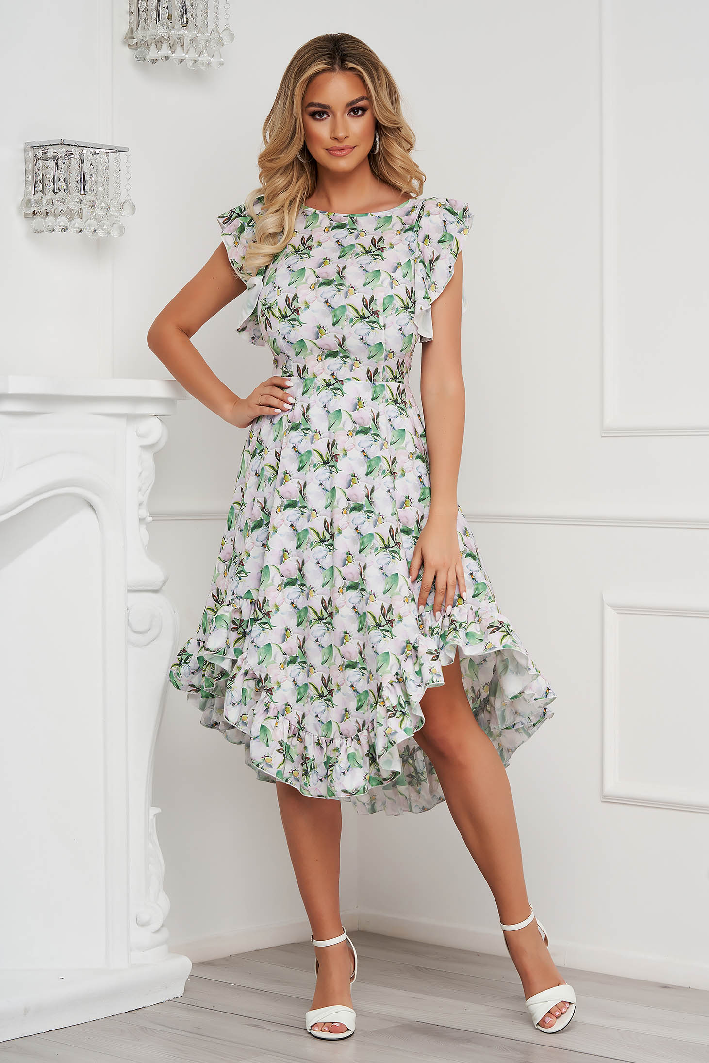 StarShinerS dress elegant midi cloche with ruffle details from soft fabric