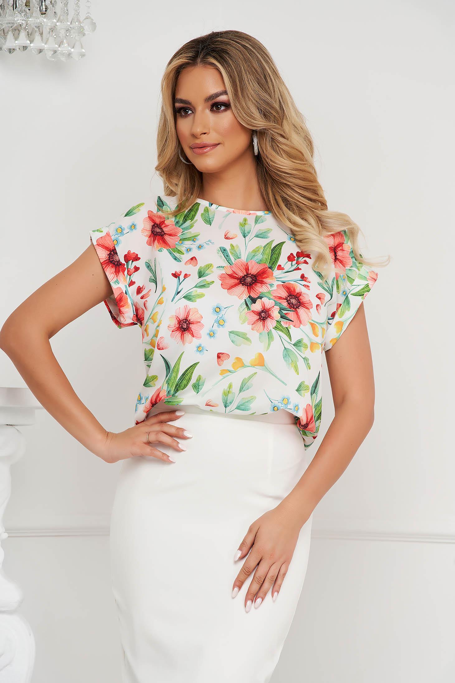 Bluza dama StarShinerS office cu croi larg din material fluid cu imprimeu floral unic