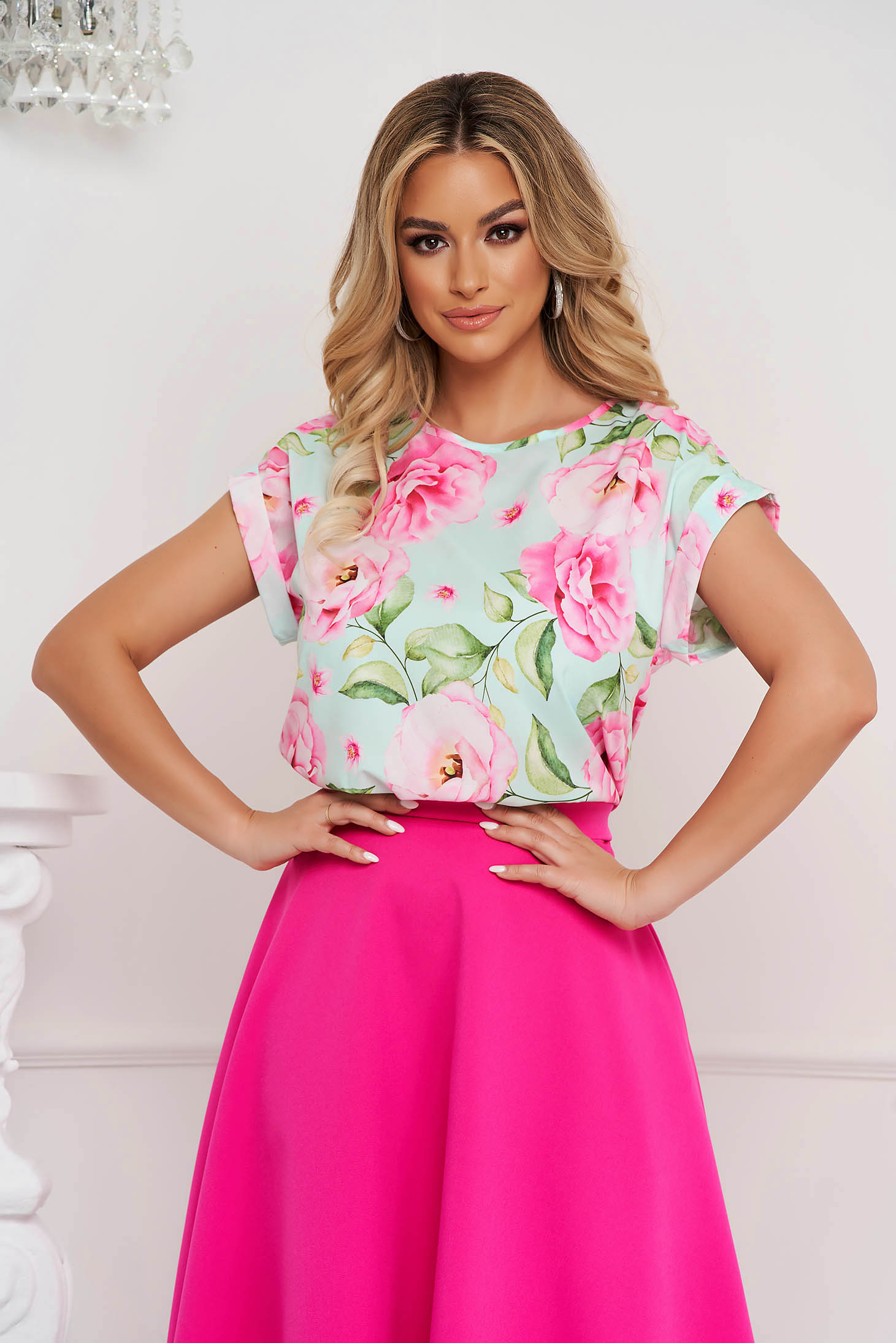 StarShinerS women`s blouse office loose fit with floral print thin fabric