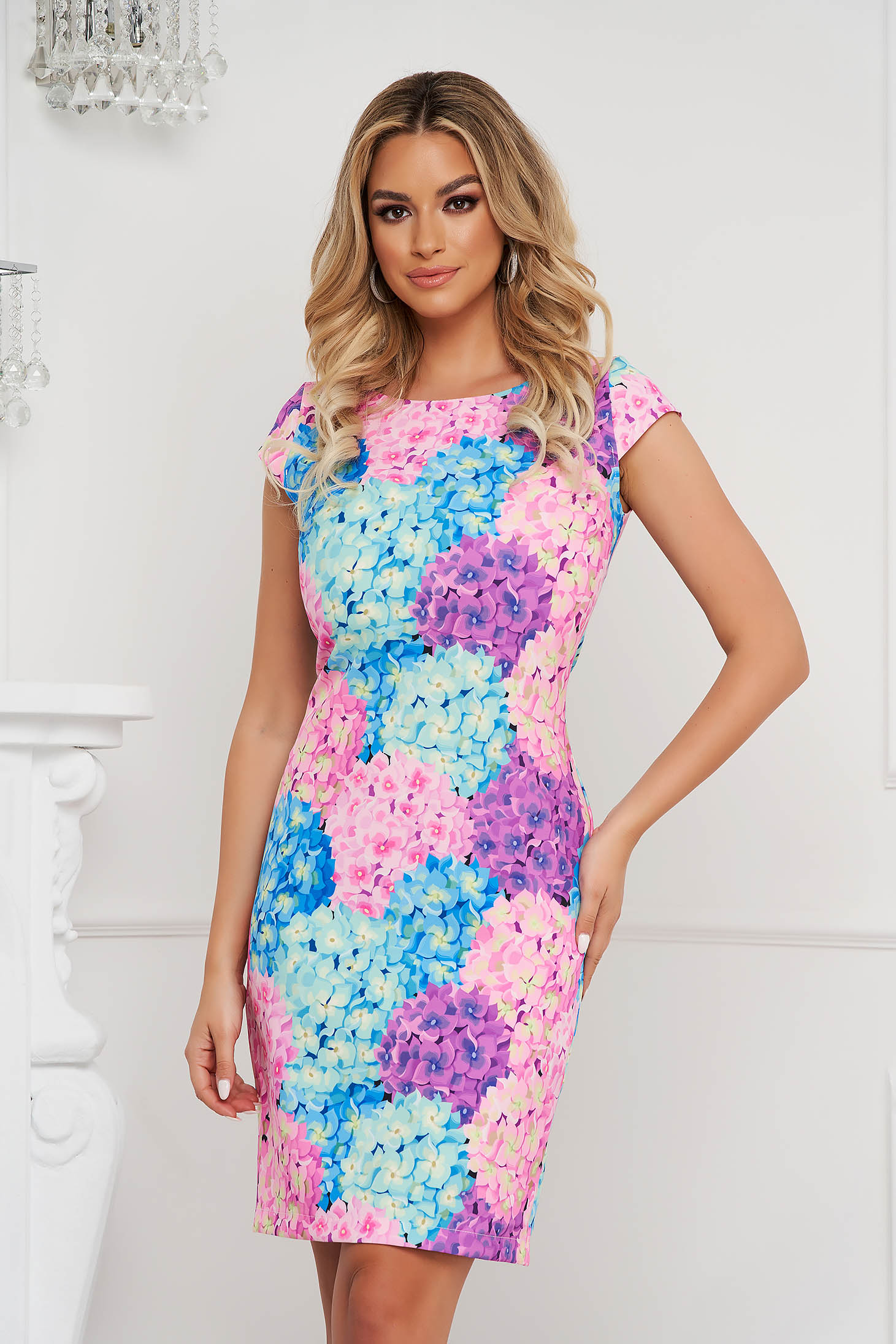 StarShinerS dress office with floral print straight short cut non-flexible thin fabric