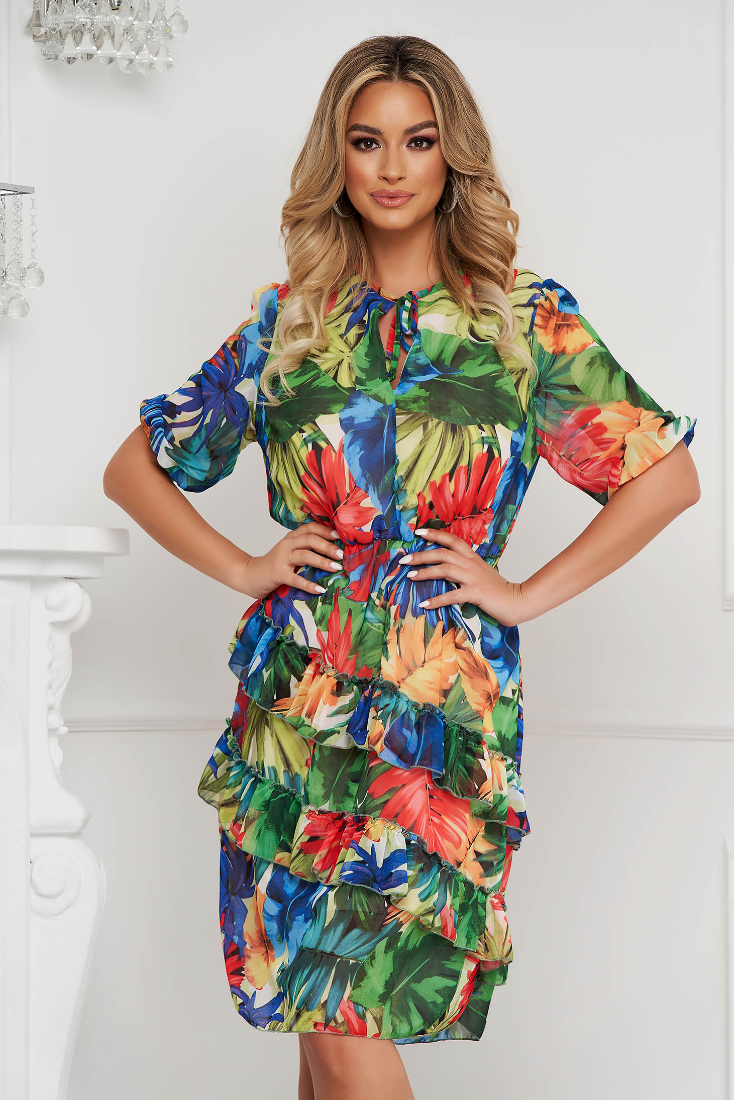 StarShinerS dress midi from veil fabric with ruffle details with floral print