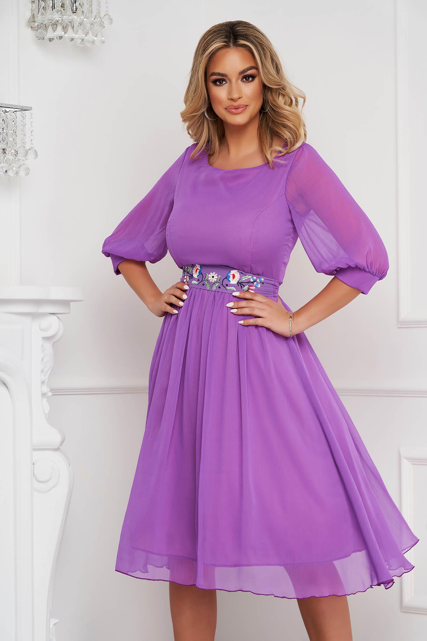 StarShinerS lightpurple dress occasional midi cloche airy fabric