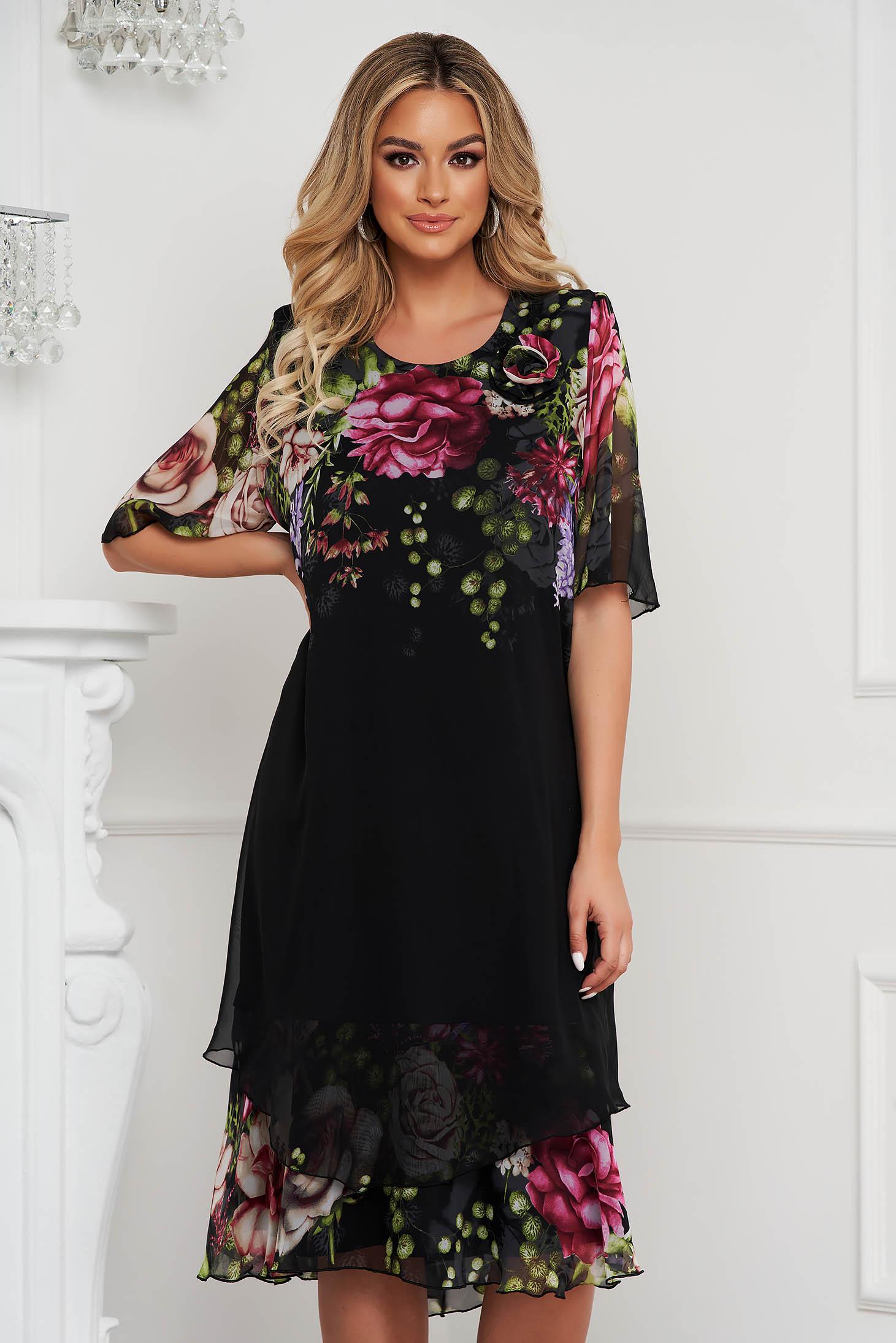 Dress elegant midi straight voile overlay
