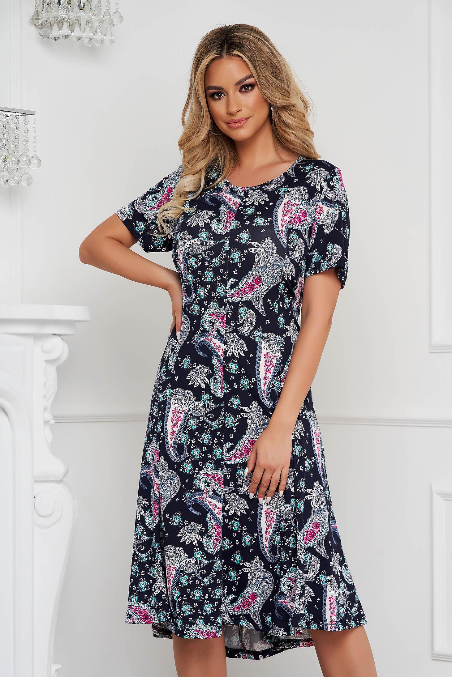 Dress midi cloche from elastic fabric short sleeves
