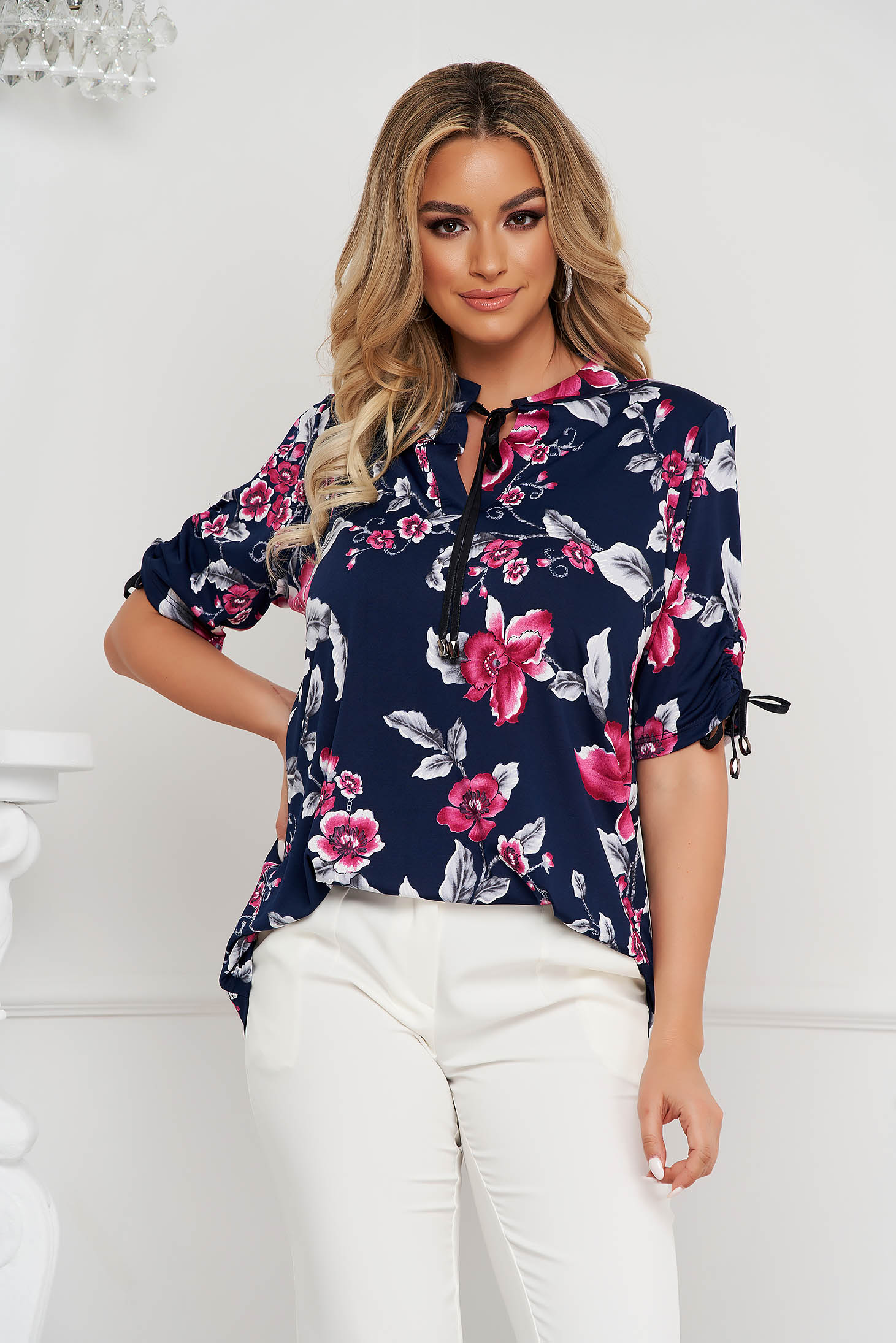 Women`s blouse office loose fit airy fabric with 3/4 sleeves