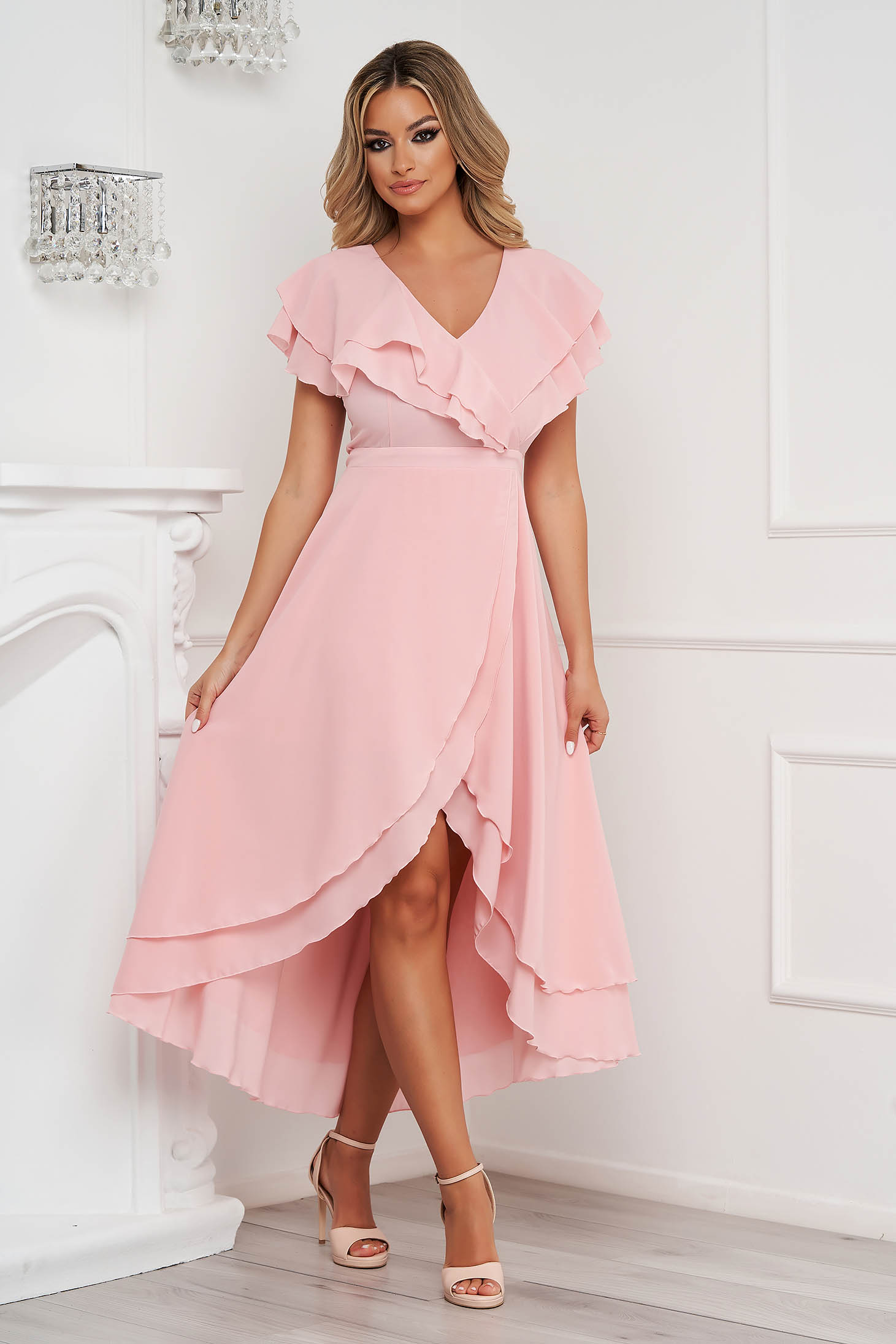 Dress StarShinerS lightpink occasional from veil fabric with ruffle details asymmetrical cloche