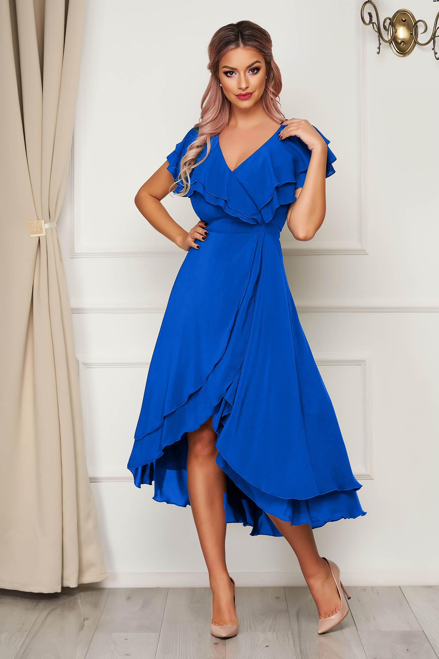 Dress StarShinerS blue occasional from veil fabric with ruffle details asymmetrical cloche