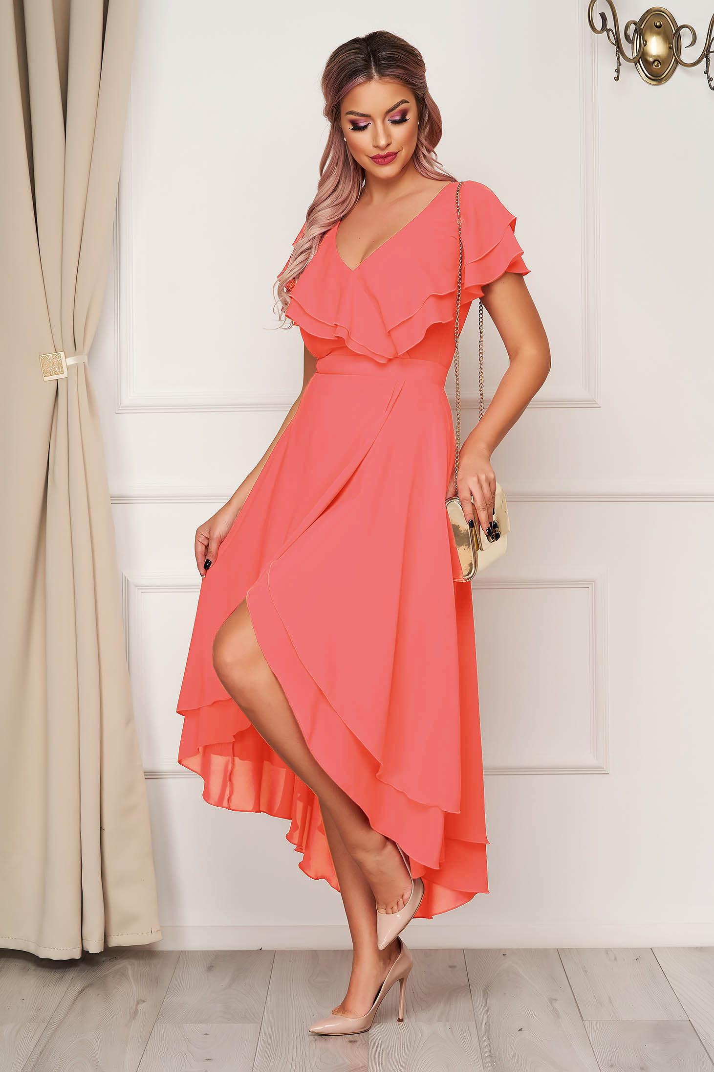 Dress StarShinerS coral occasional from veil fabric with ruffle details asymmetrical cloche