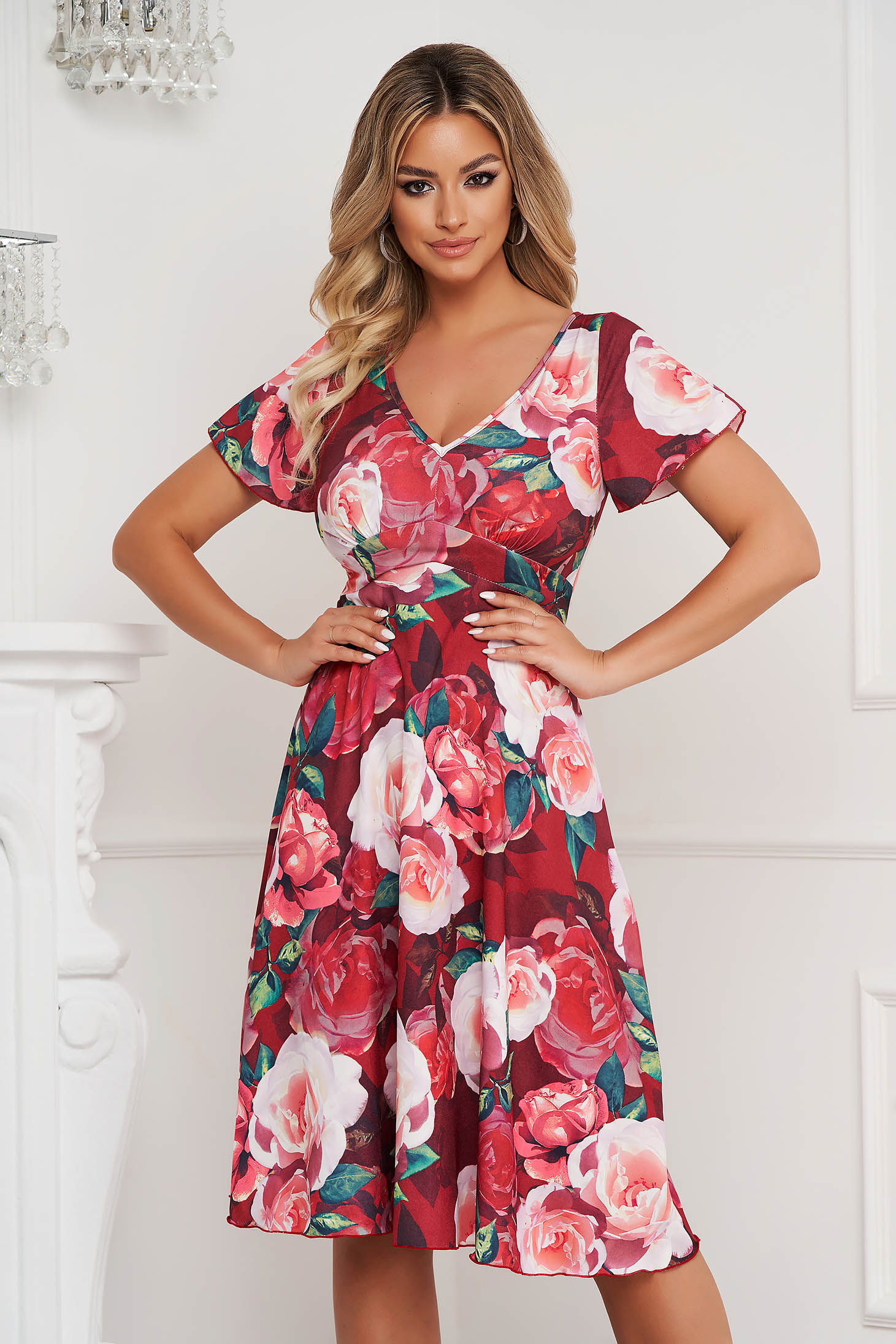Dress midi cloche short sleeves with floral print thin fabric office