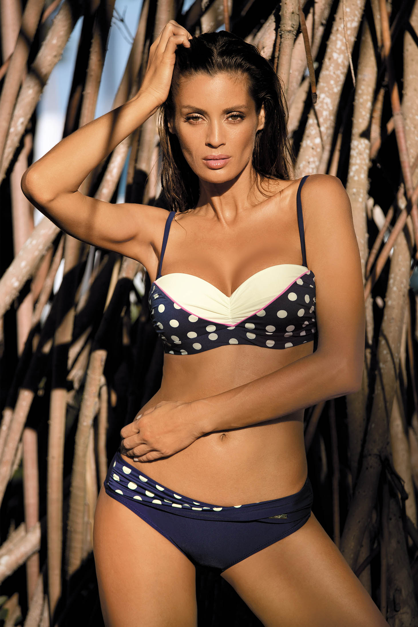 Darkblue swimsuit 2 pieces normal bikinis dots print with push-up bra