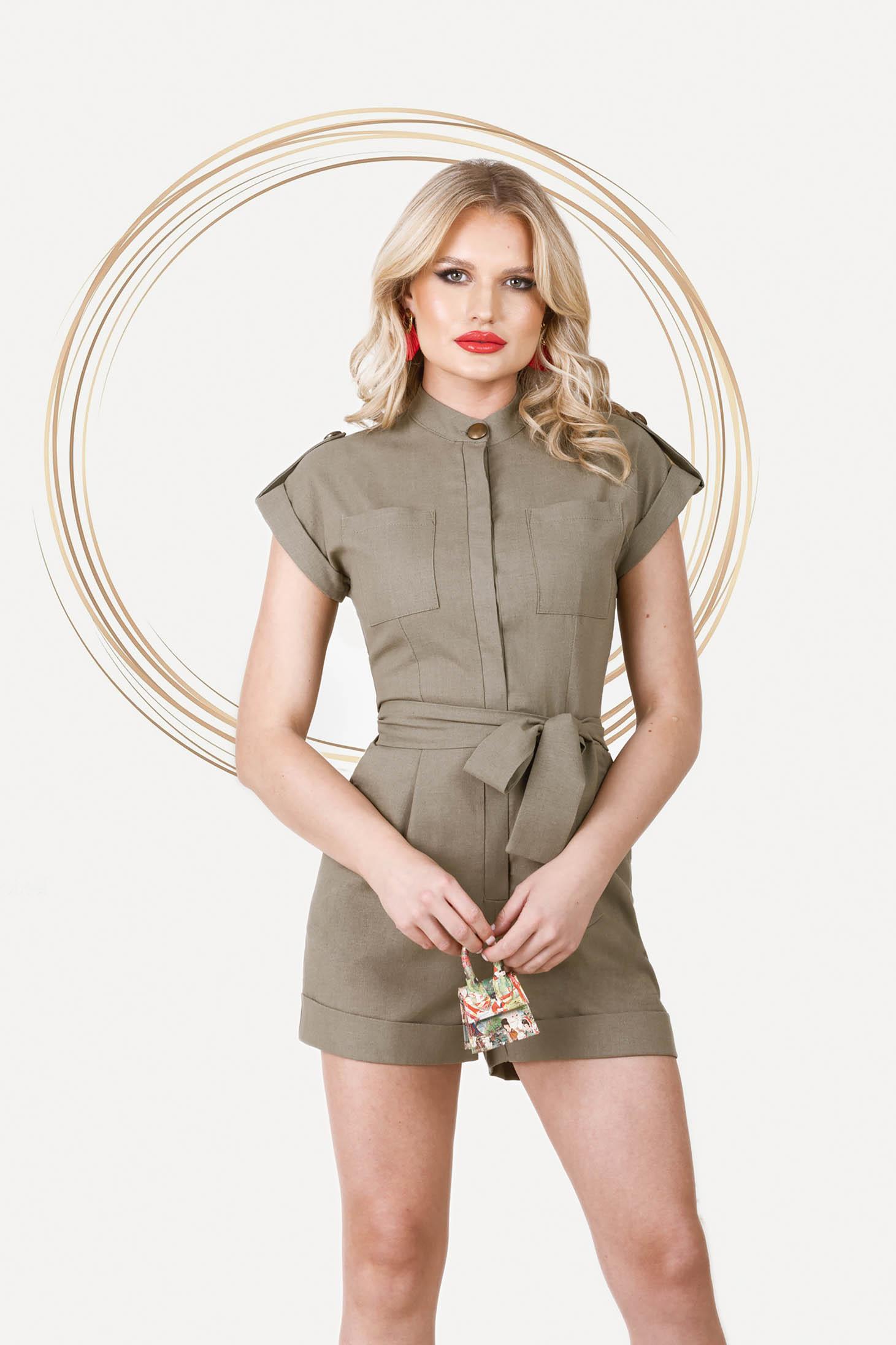 Khaki jumpsuit short cut linen with pockets detachable cord
