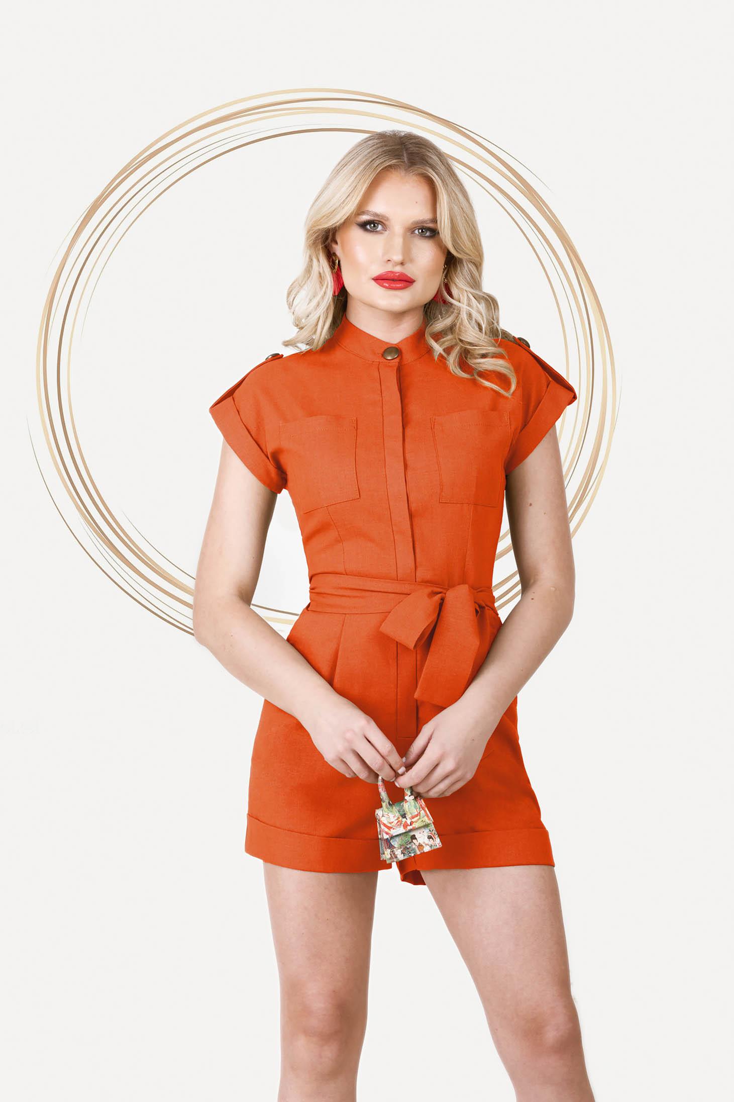 Bricky jumpsuit short cut linen with pockets detachable cord