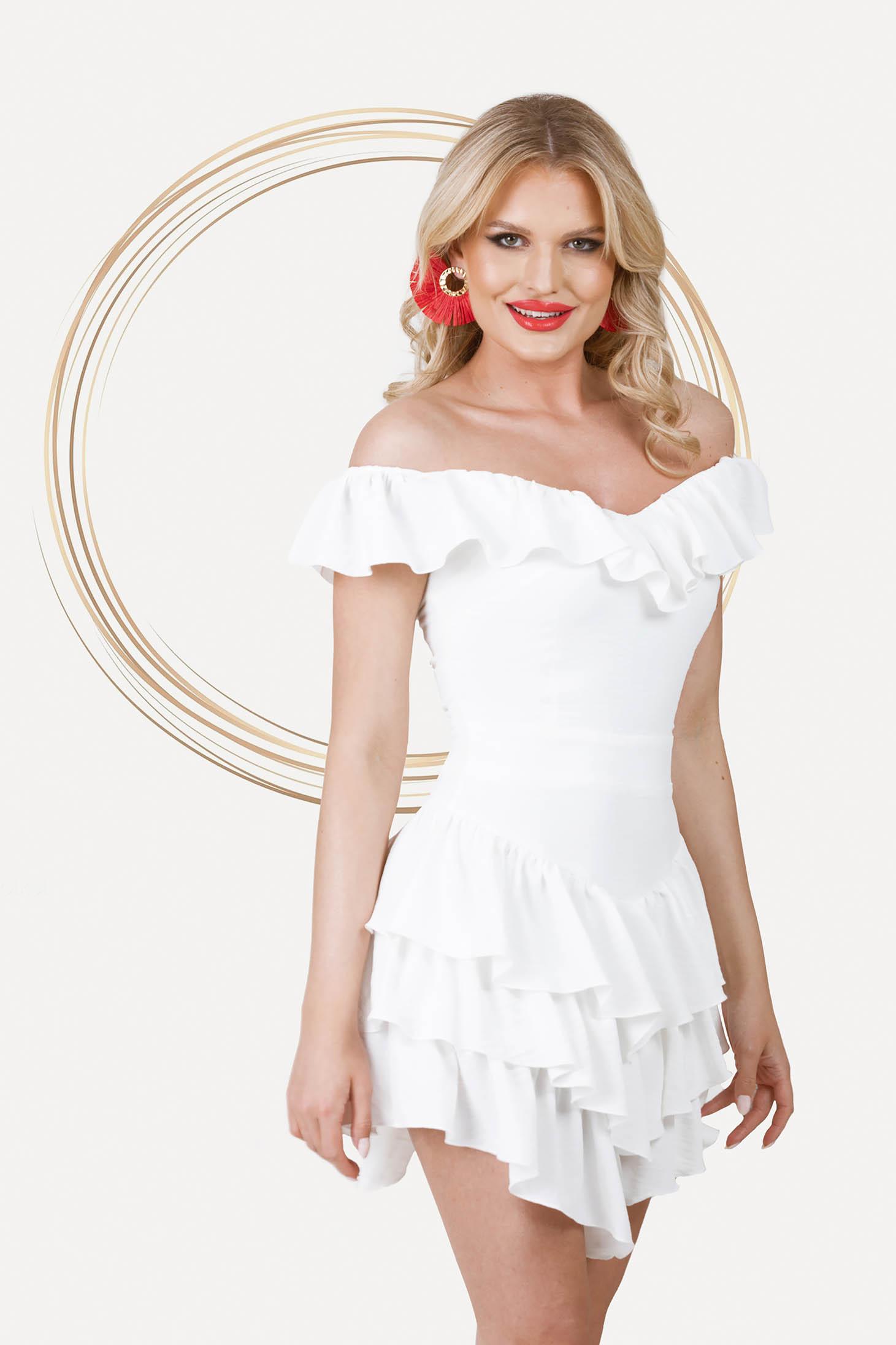 Rochie PrettyGirl ivoire scurta asimetrica in clos cu umeri goi si volanase