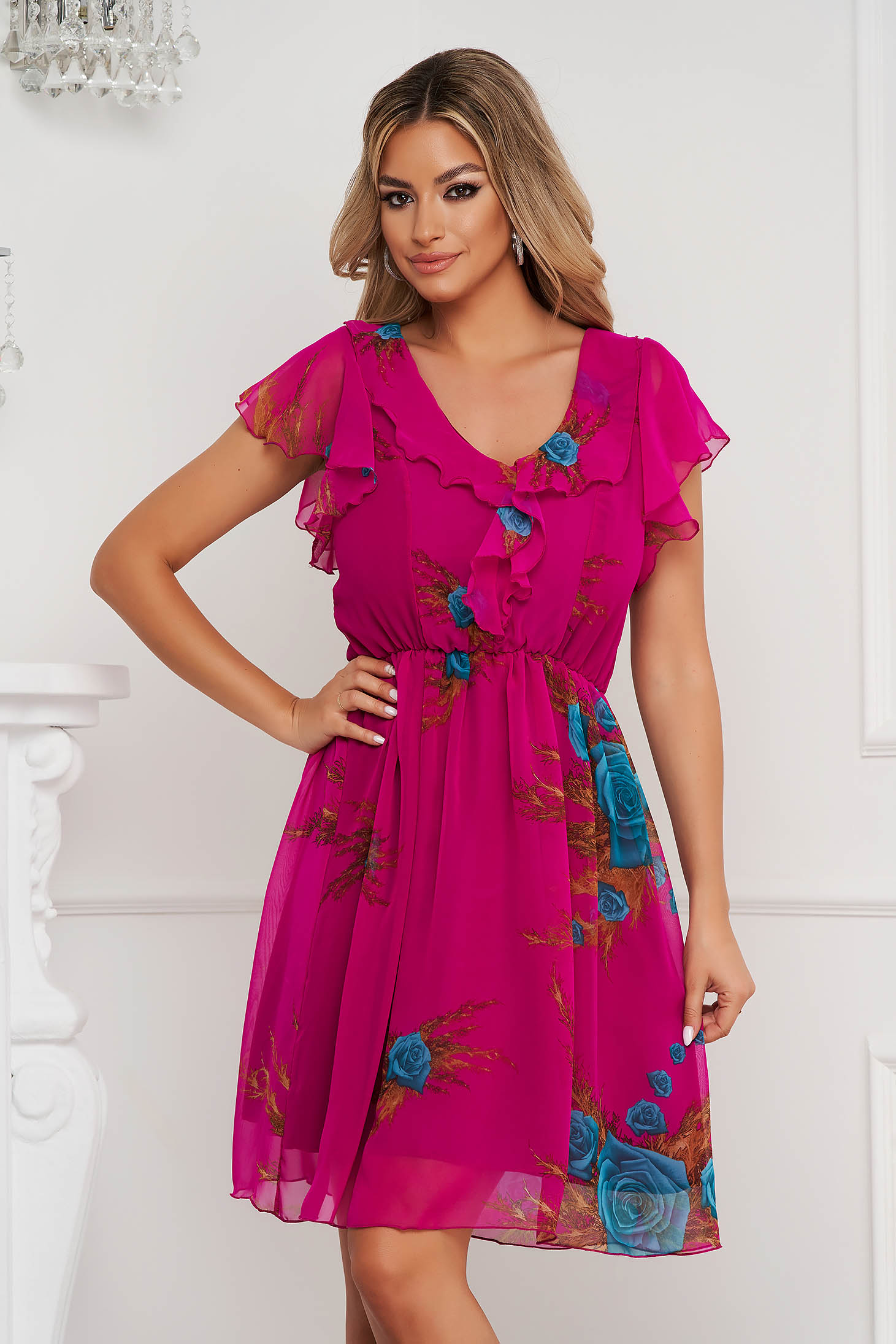 Dress cloche with elastic waist short cut from veil fabric frilly trim around cleavage line with ruffled sleeves