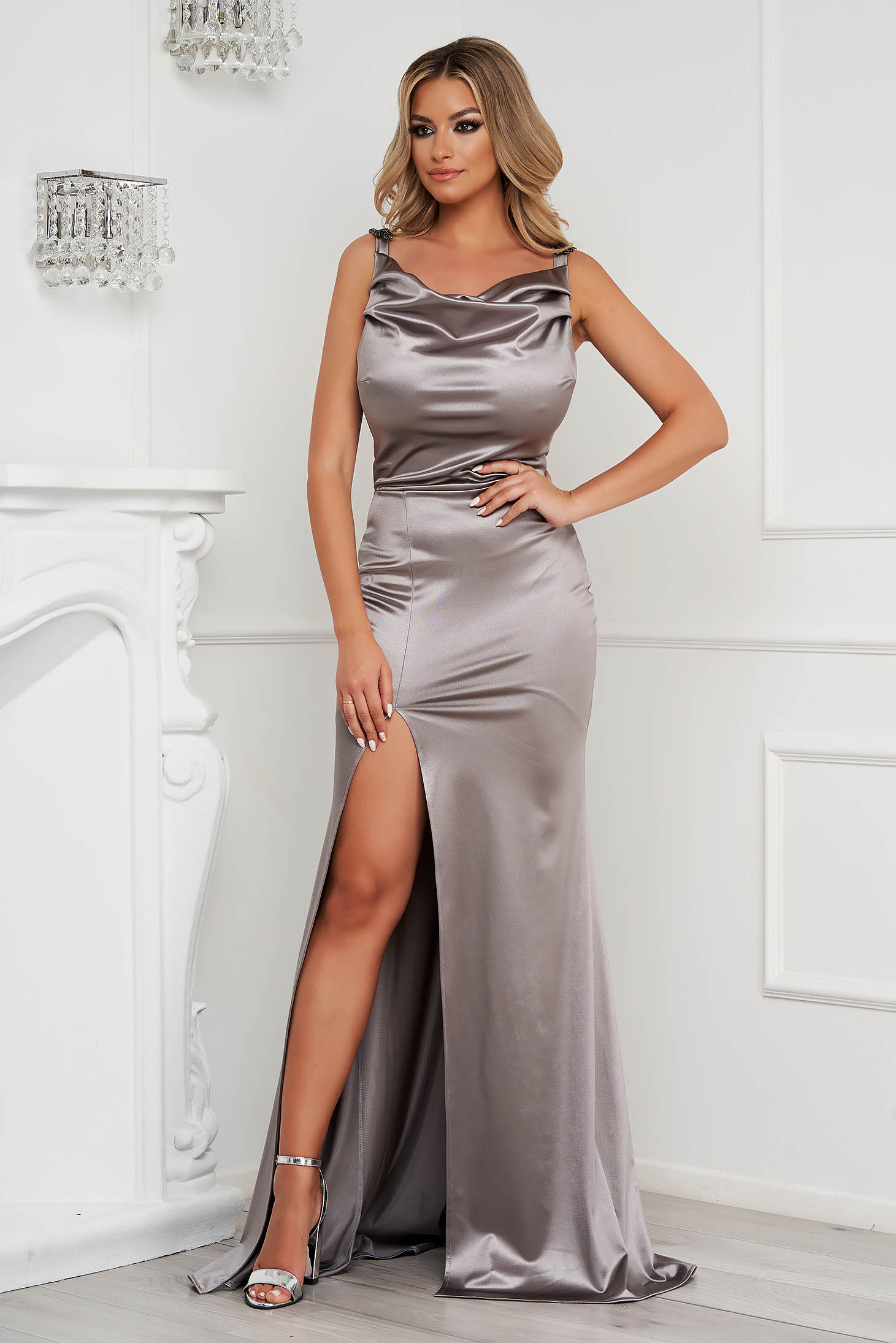 StarShinerS silver occasional long mermaid cut dress with embellished accessories from satin cowl neck