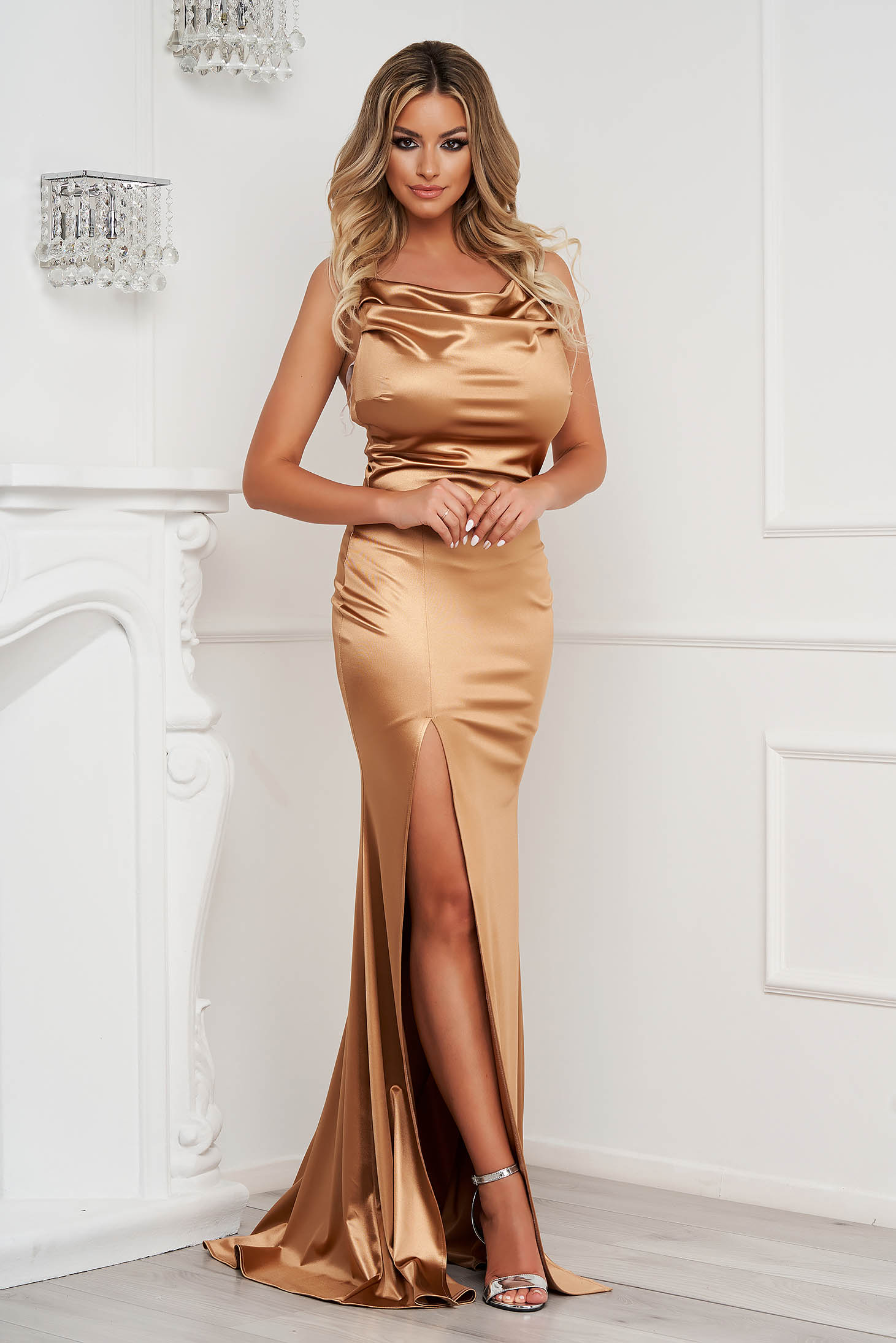 StarShinerS gold occasional long mermaid cut dress with embellished accessories from satin cowl neck