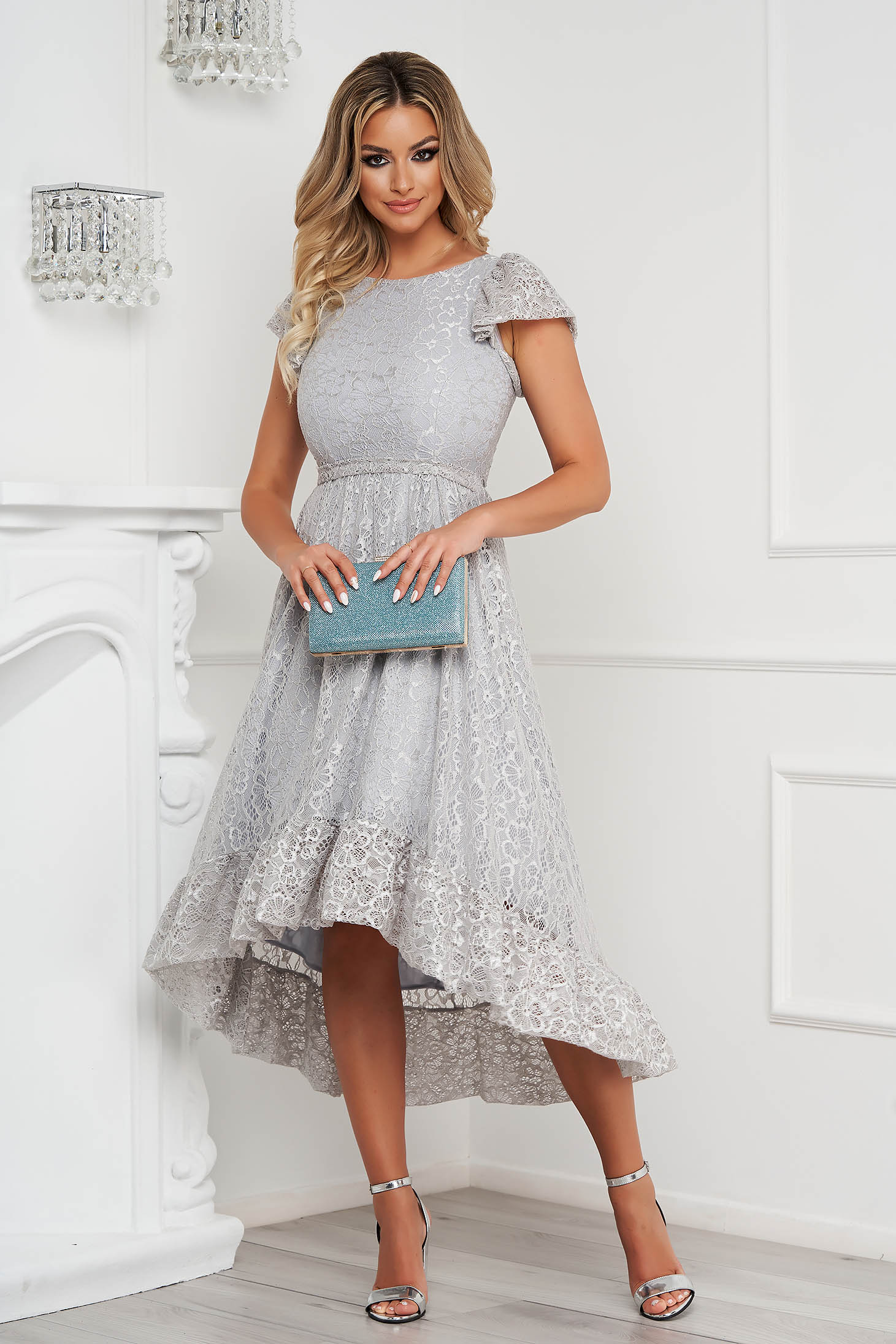 StarShinerS grey dress elegant midi asymmetrical cloche laced with butterfly sleeves