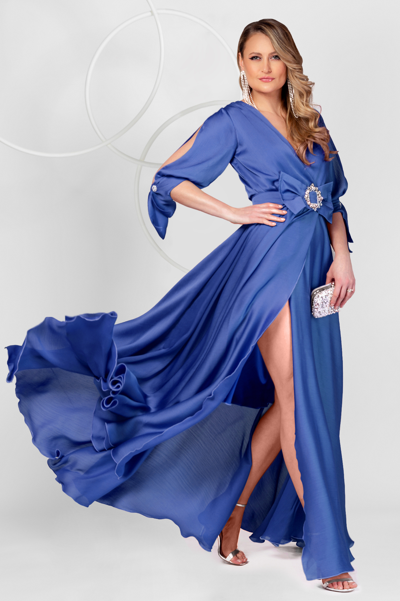 Blue dress long occasional from veil fabric cloche with elastic waist with cut-out sleeves