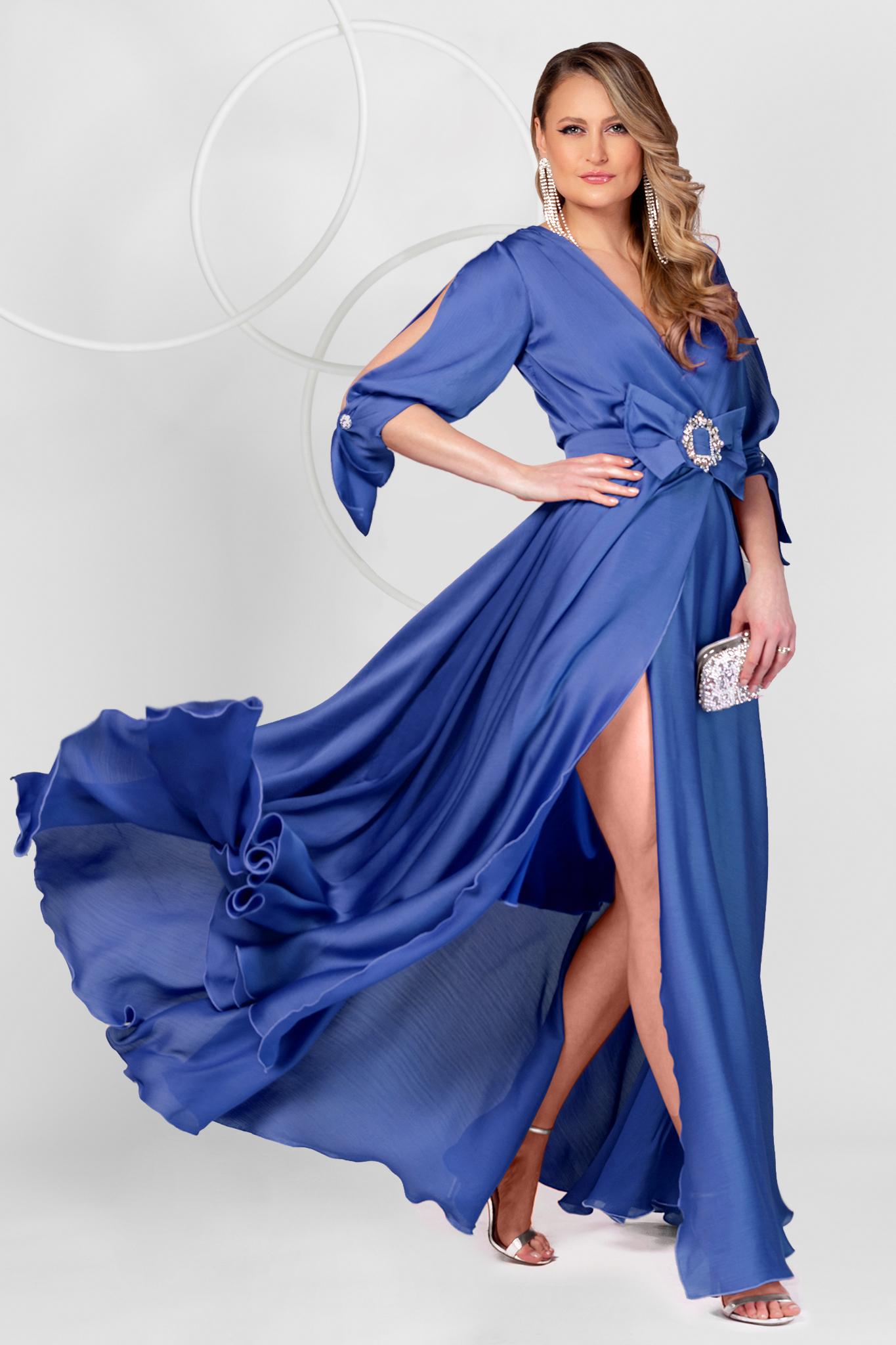 Rochie PrettyGirl albastra lunga de ocazie din voal in clos cu elastic in talie si maneci decupate