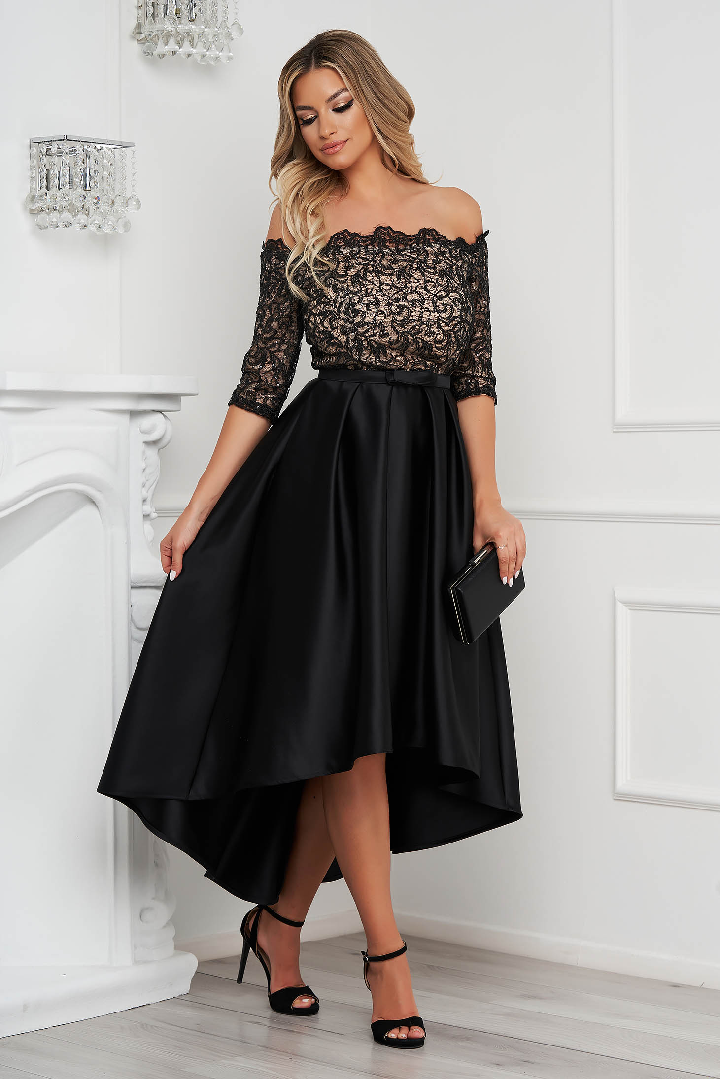 StarShinerS black dress cloche midi from satin naked shoulders with laced sleeves with tie back belt
