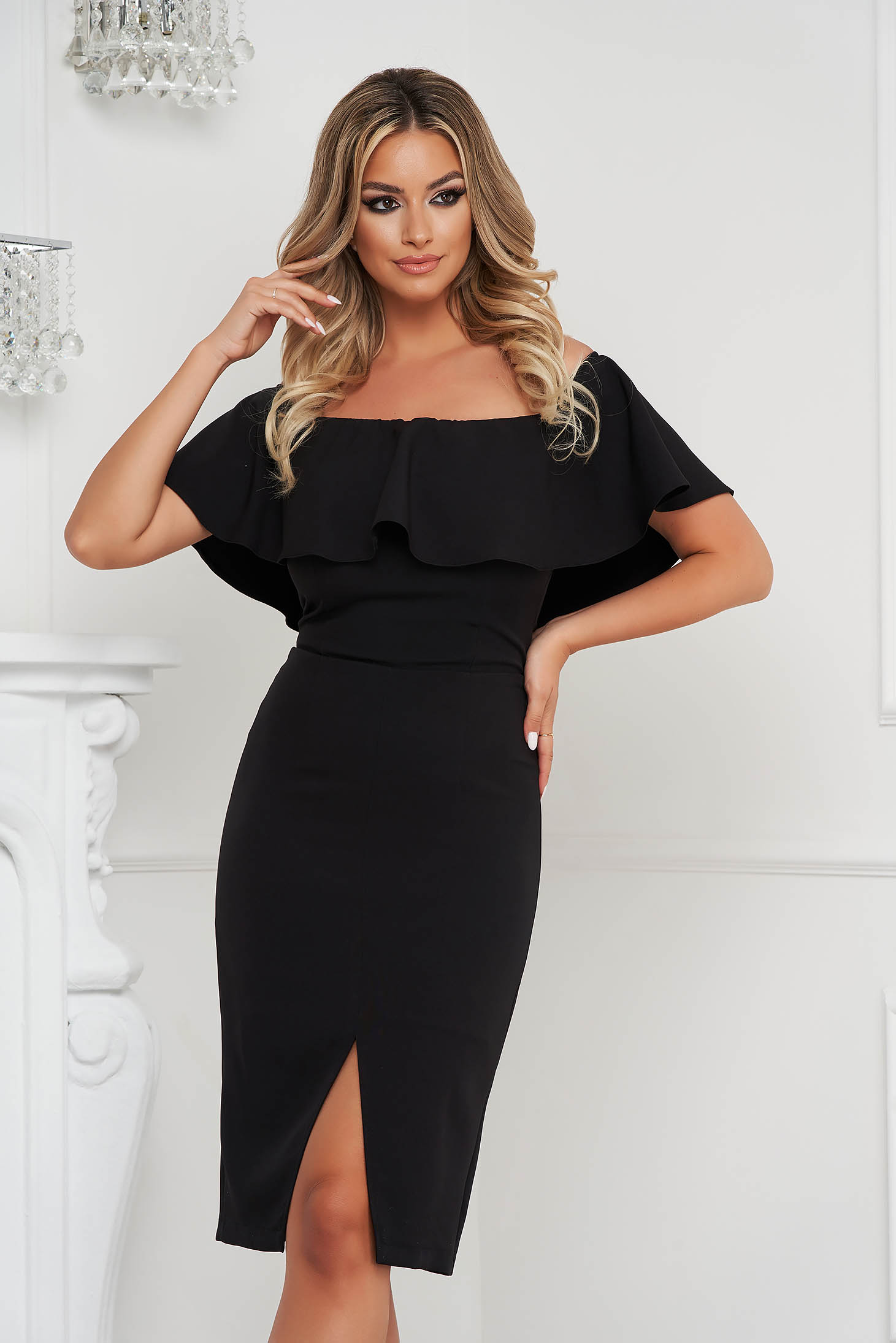 StarShinerS black pencil dress midi frilly trim around cleavage line occasional