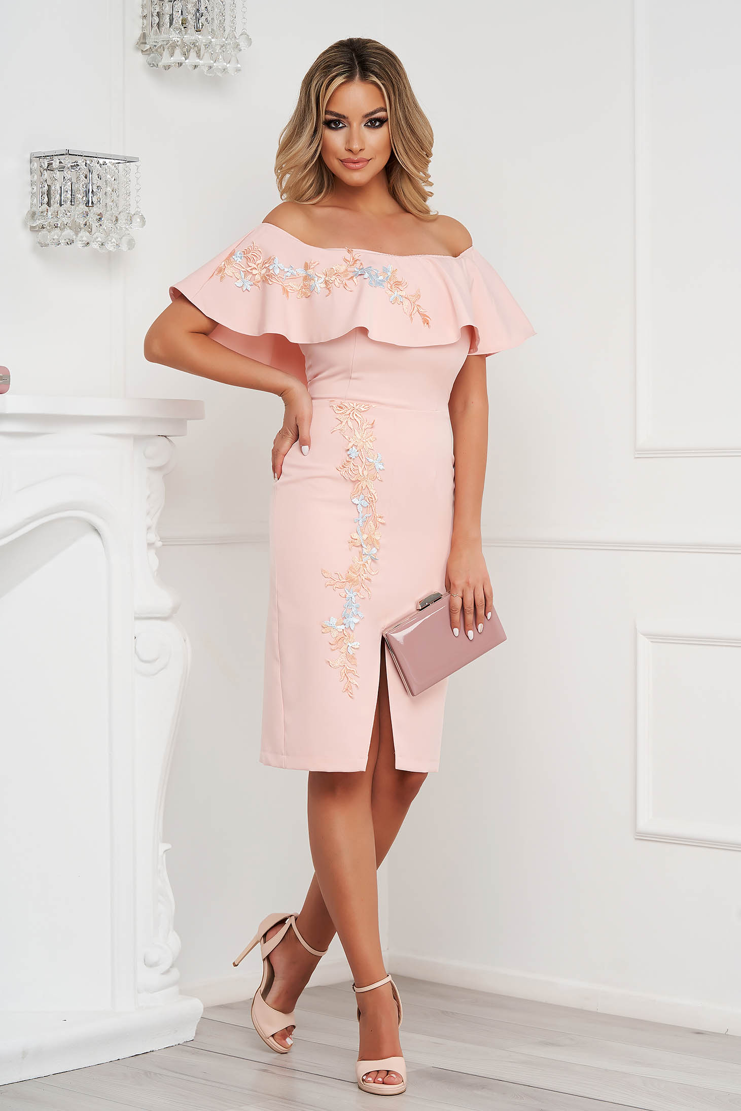 StarShinerS peach dress midi pencil naked shoulders occasional cloth thin fabric