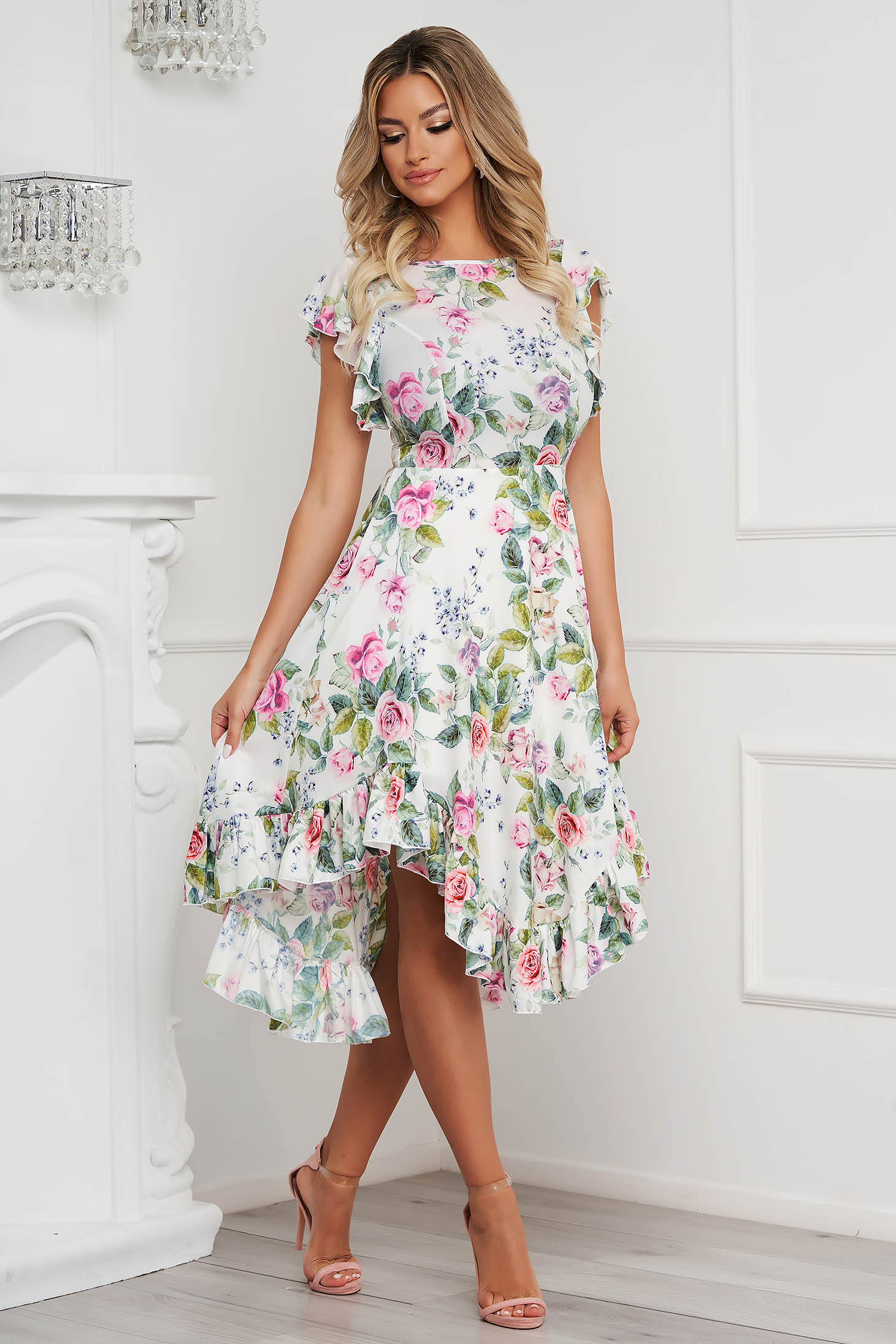 StarShinerS dress midi cloche with ruffle details from soft fabric asymmetrical