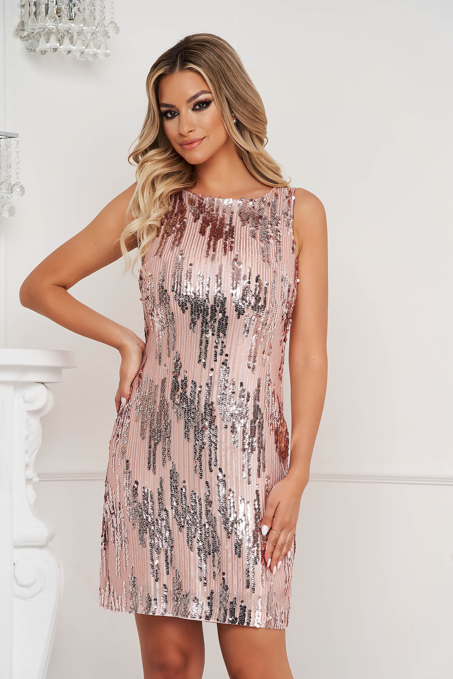 StarShinerS lightpink dress with sequins from satin short cut straight occasional