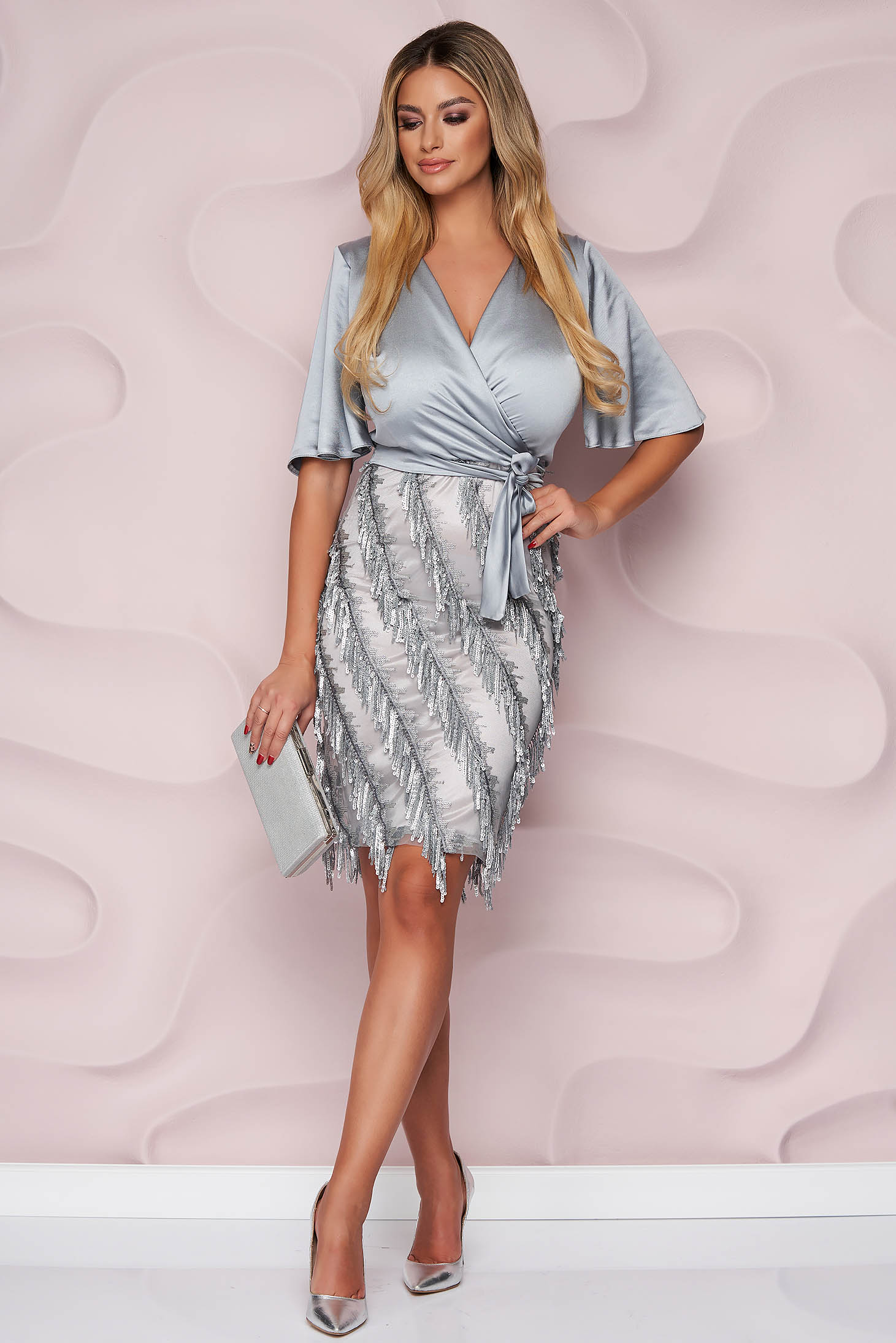 StarShinerS silver dress pencil occasional with sequin embellished details from satin fabric texture nonelastic fabric