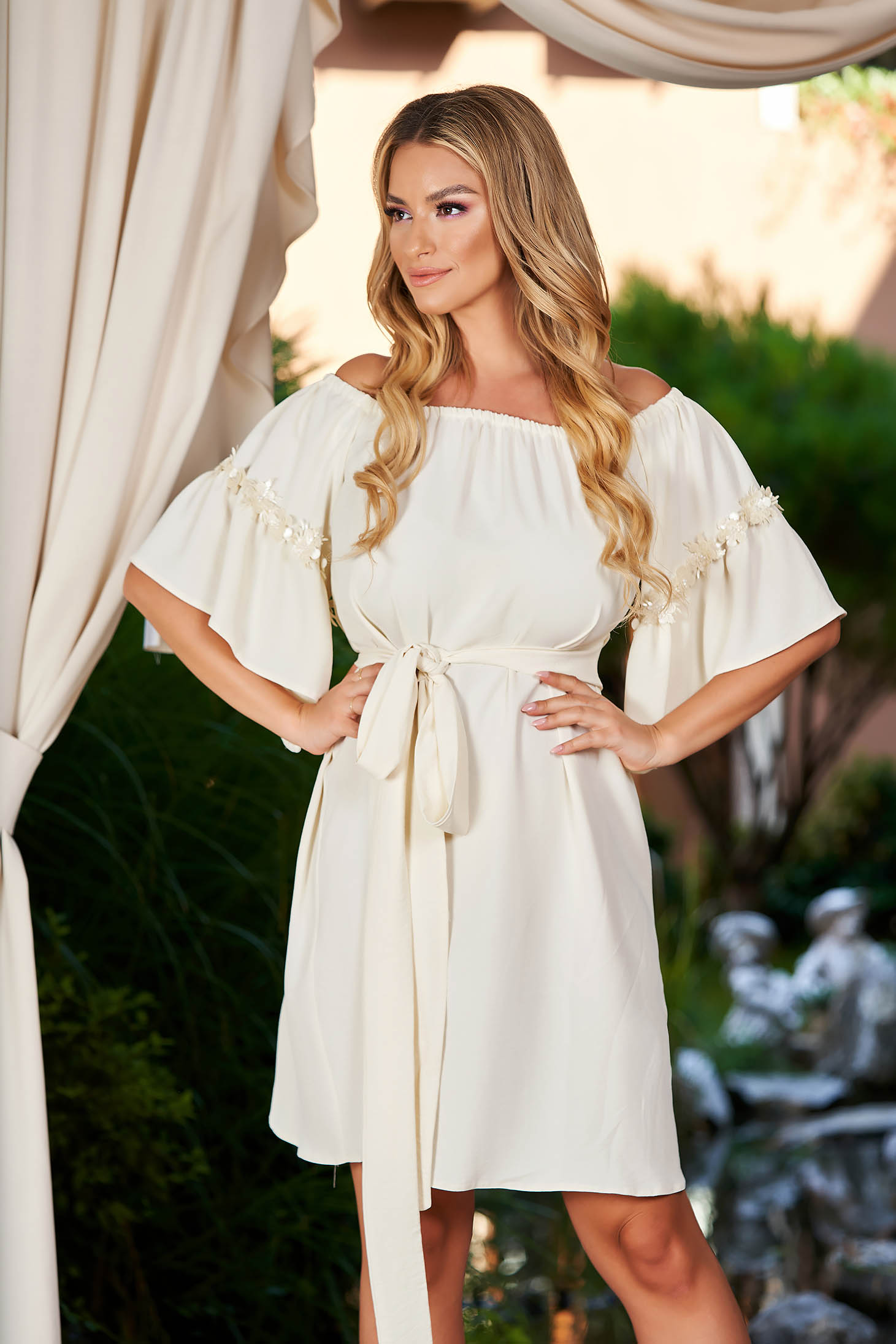 StarShinerS ivory dress cloche midi from satin occasional naked shoulders with bell sleeve