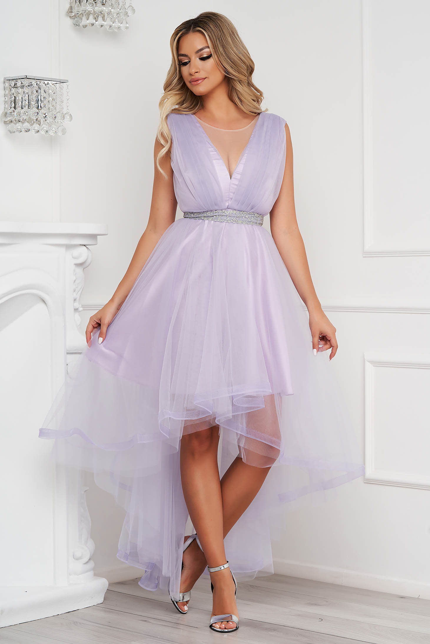 Lila dress occasional asymmetrical cloche from tulle detachable cord
