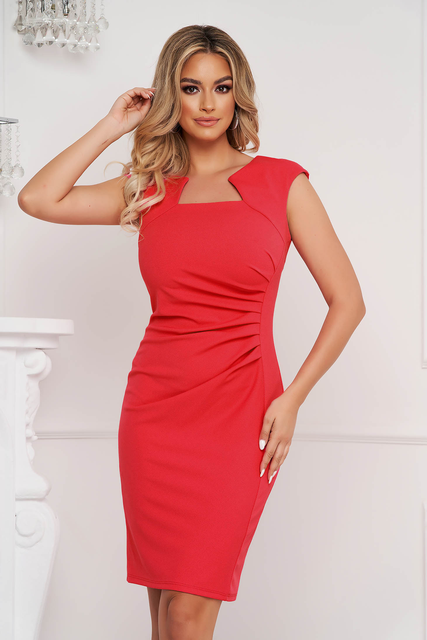 Red dress office short cut pencil from elastic fabric short sleeves
