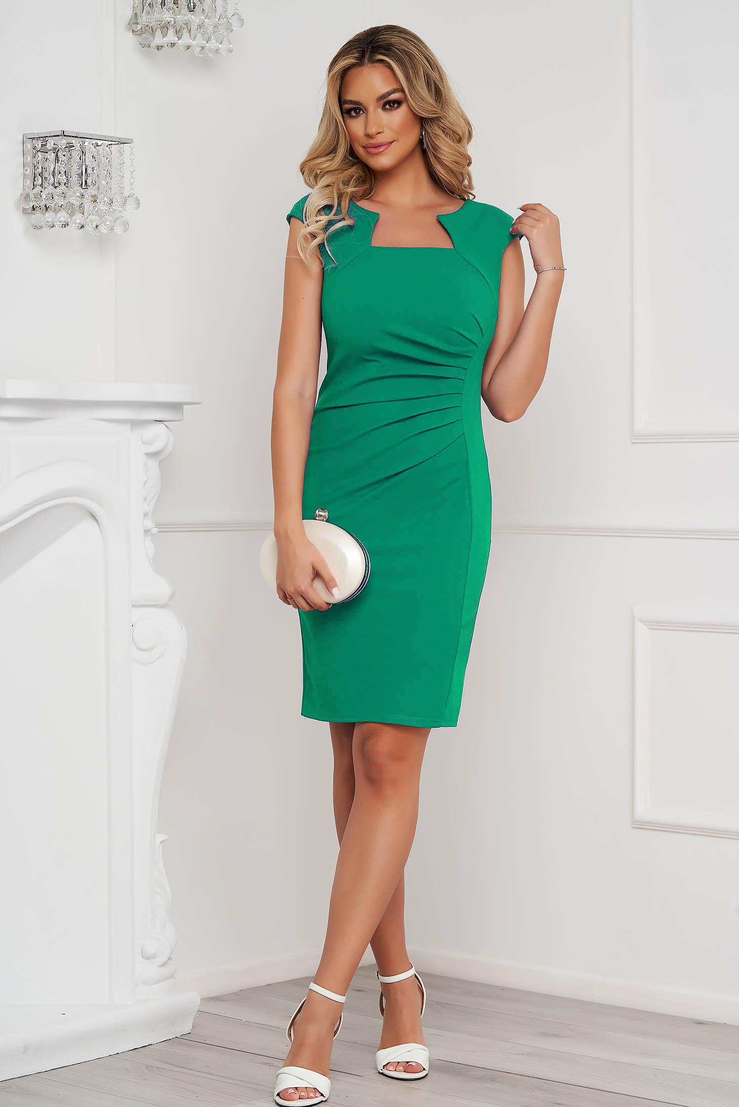 Rövid ujjú zöld rövid irodai ceruza ruha rugalmas anyagból