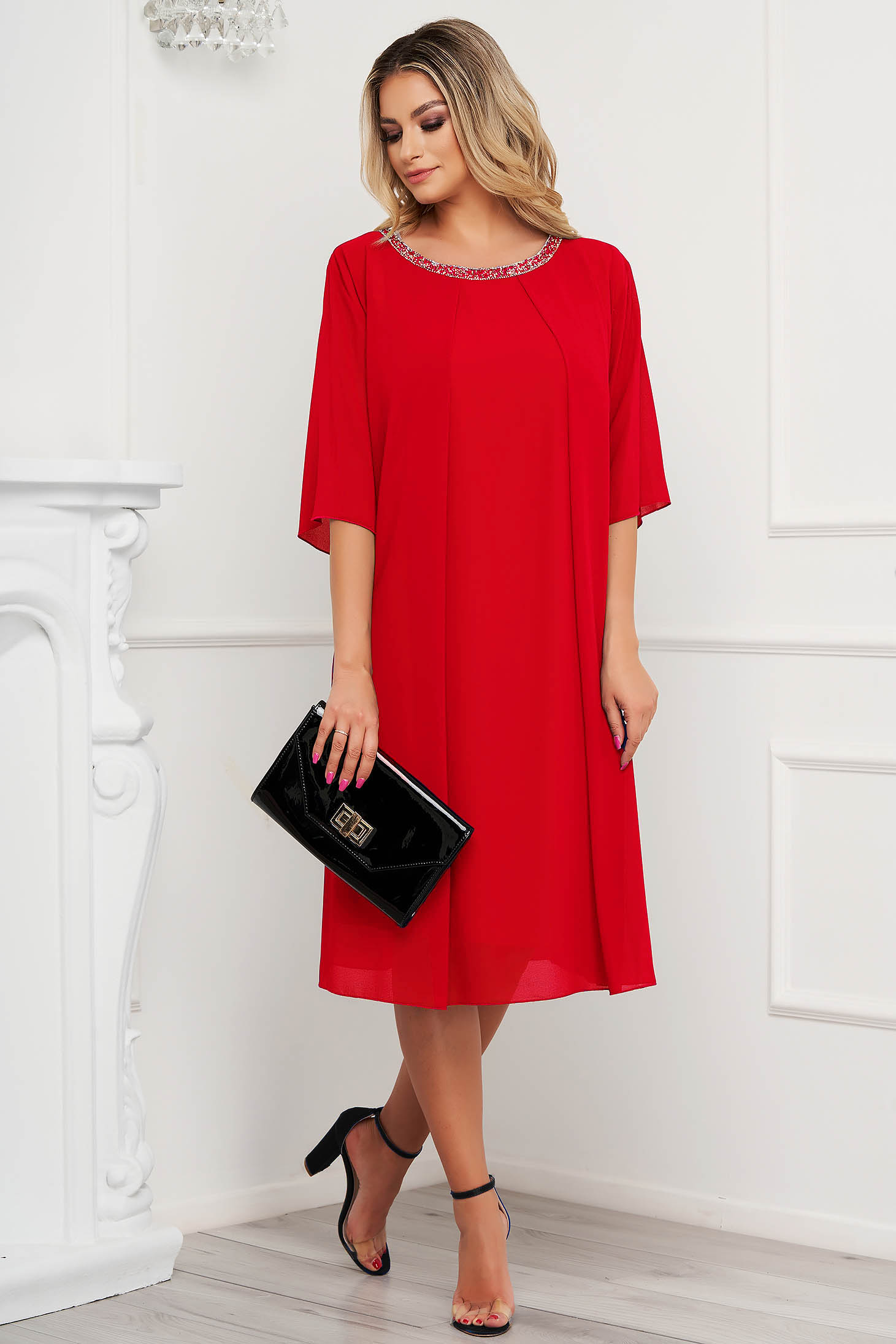 From veil fabric midi loose fit with crystal embellished details red dress occasional