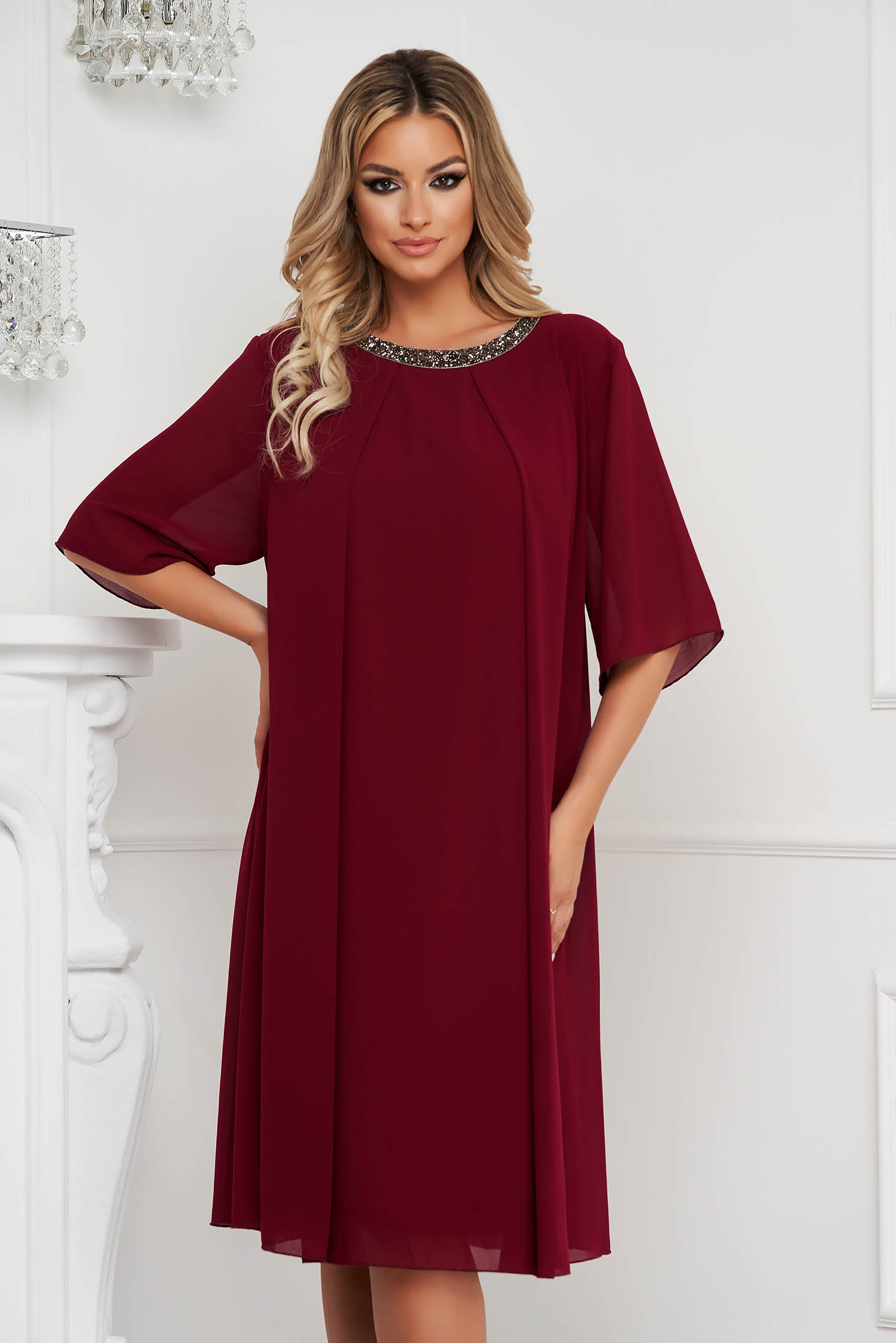 From veil fabric midi loose fit with crystal embellished details burgundy dress occasional