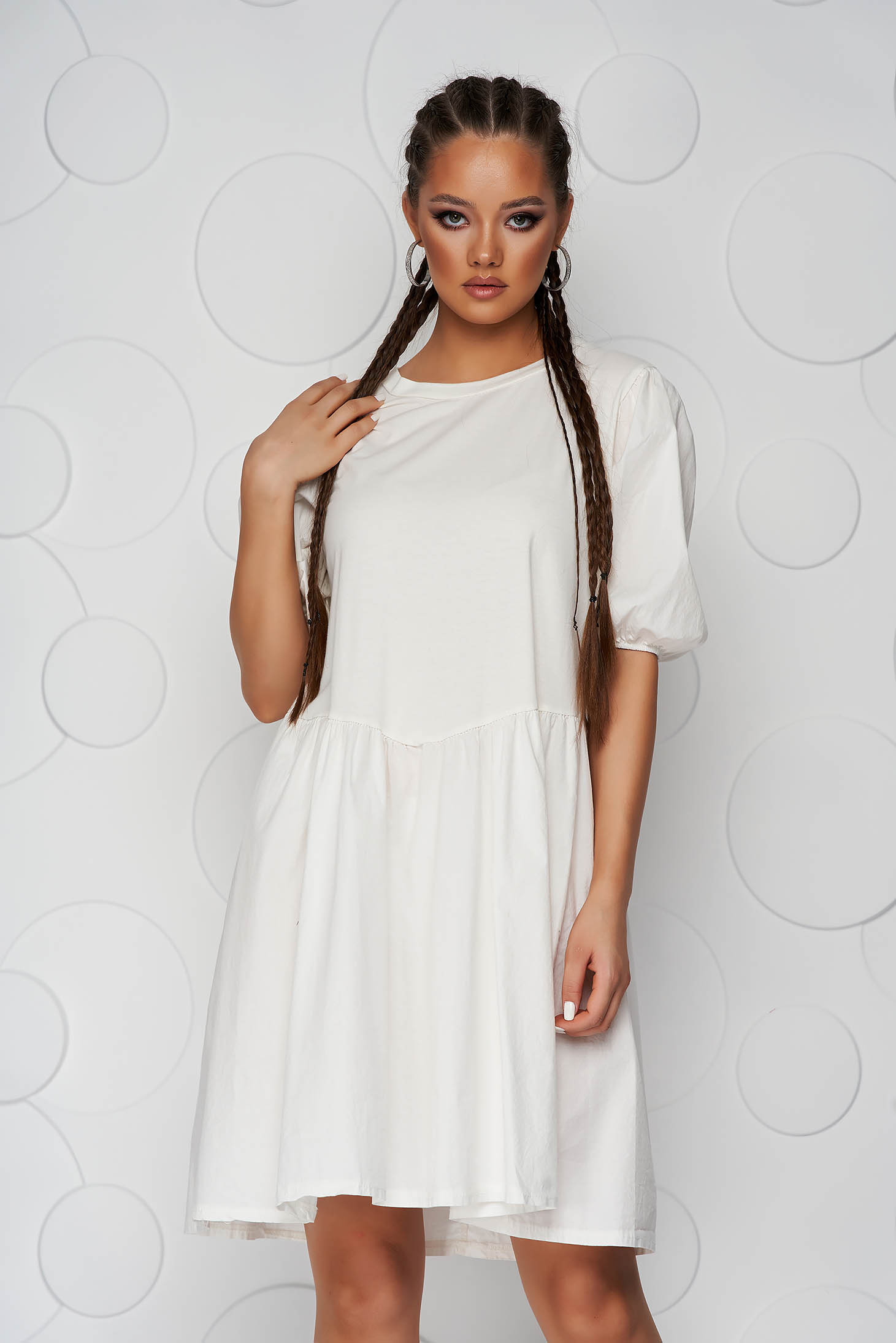 Ivory dress short cut cotton loose fit short sleeves elastic held sleeves